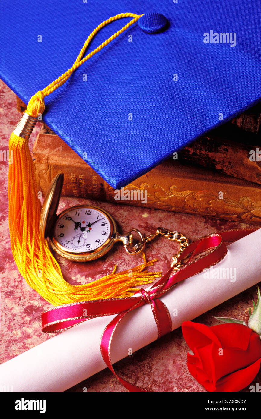 Graduation cap with diploma and rose - Stock Image
