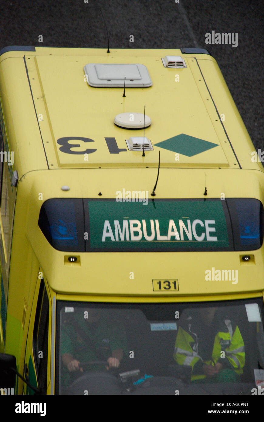 close up of ambulance on its way to an emergency - Stock Image
