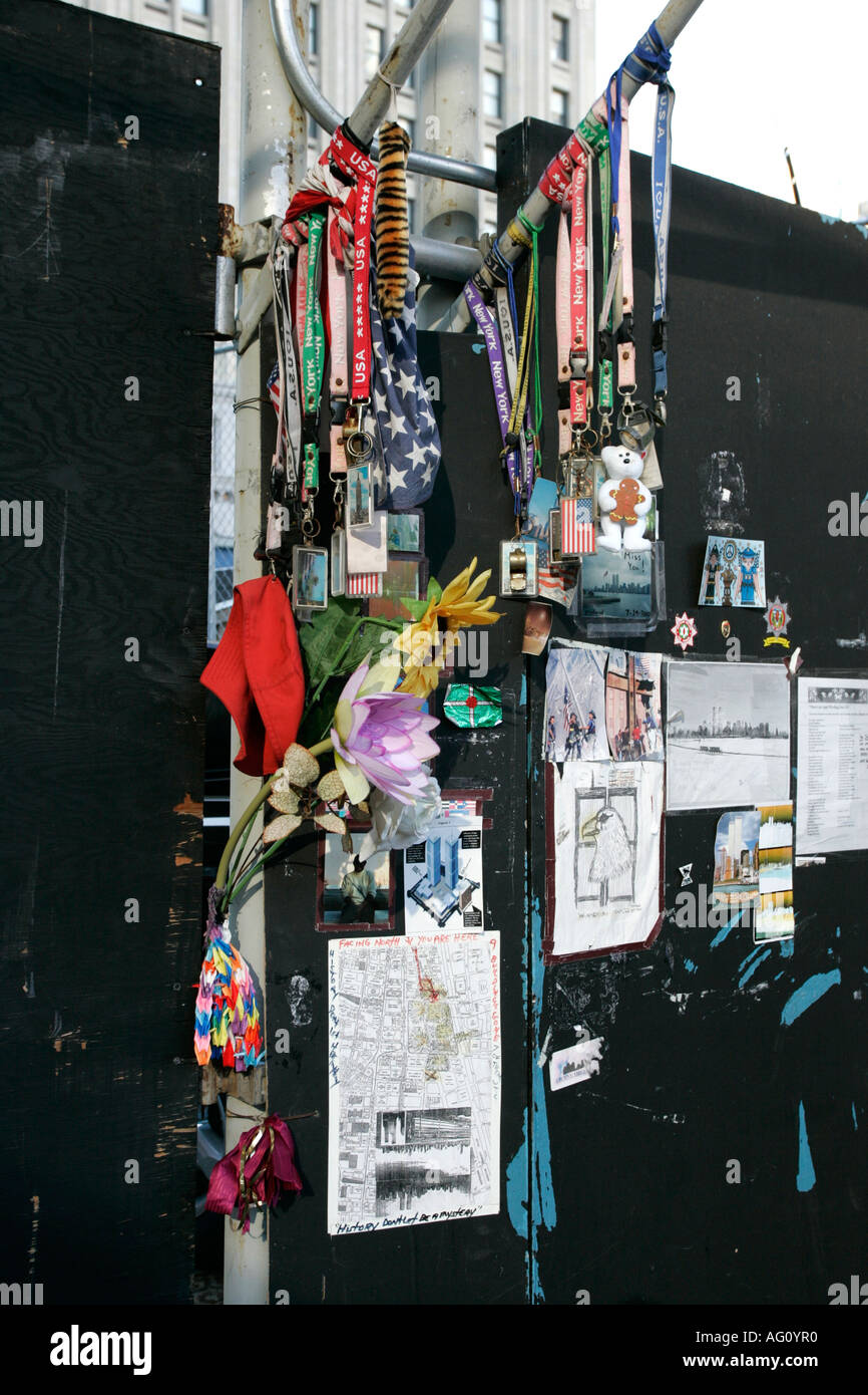 multinational tributes flowers and memorials left by mourners wellwishers ground zero new york city new york USA - Stock Image