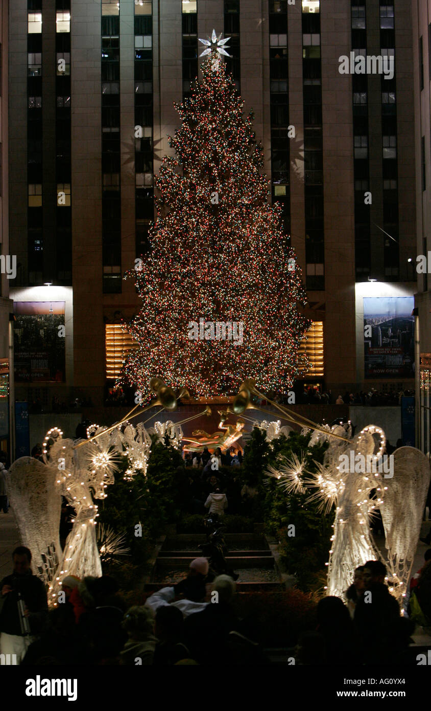 The christmas tree lit up at night at the Rockefeller centre new york city new york USA - Stock Image