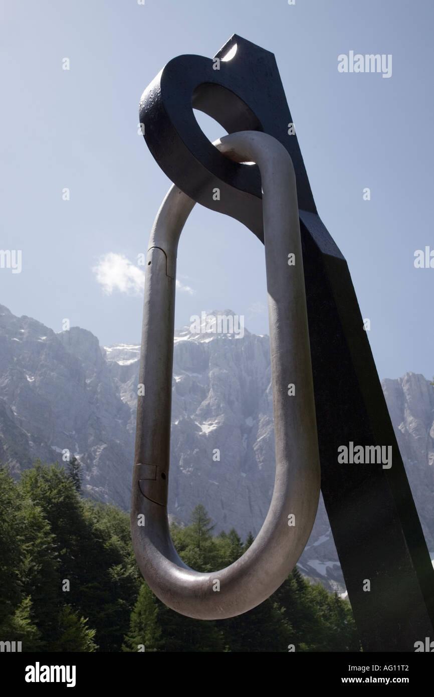 Partisans Piton and karabiner monument with Triglav mountain seen through  centre in Triglav National Park. b18e1c54745