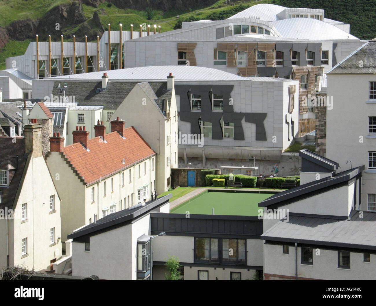 The new Scottish Parliament complex seen from New Calton Hill Burial Ground, Edinburgh, Scotland, UK. Stock Photo