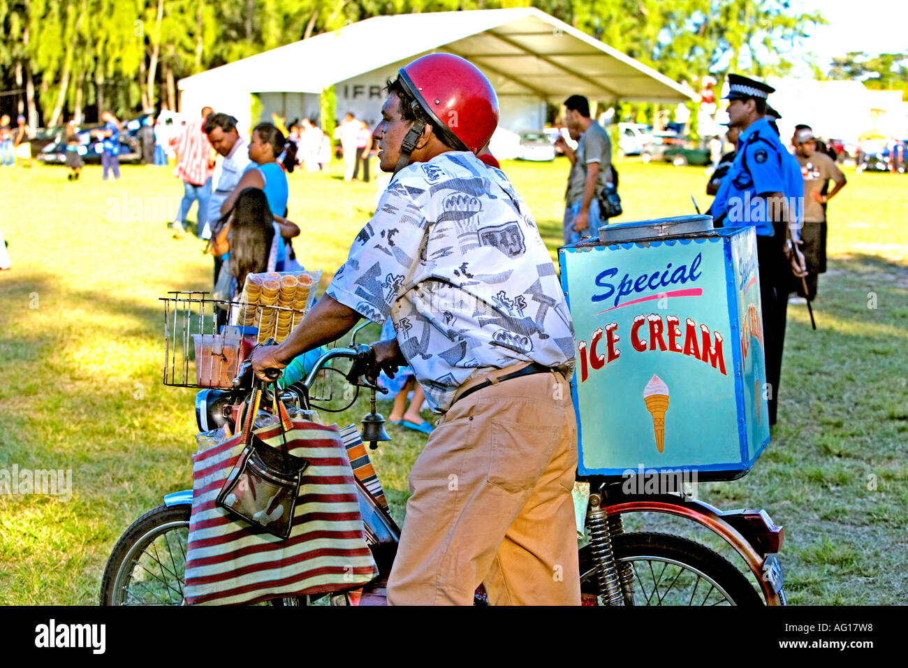 Ice cream seller at the Vintage Motocycle and Car Rally at Mont Choisy, Mauritius Stock Photo