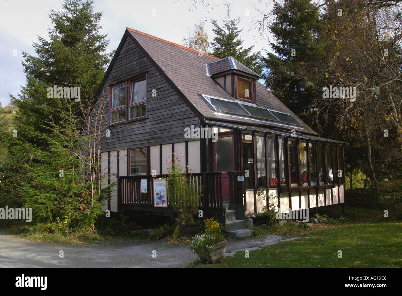 Example of self build house at the Centre for Alternative Technology Machynlleth Powys Mid Wales UK - Stock Image