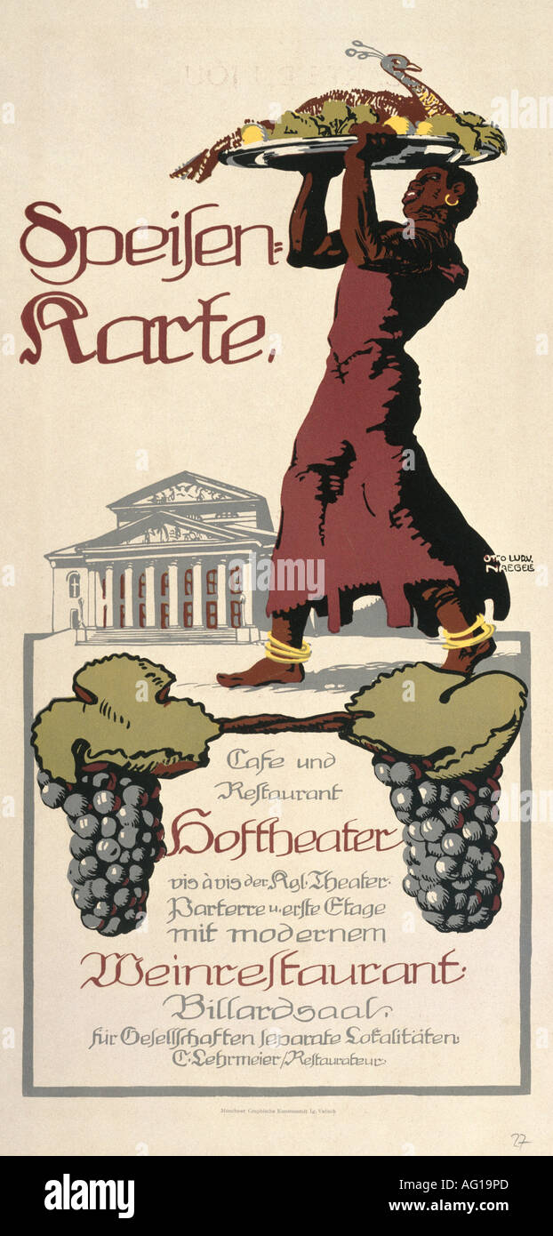 gastronomy,menus, Cafe und Restaurant Hoftheater, Munich, circa 1910, Additional-Rights-Clearances-NA - Stock Image