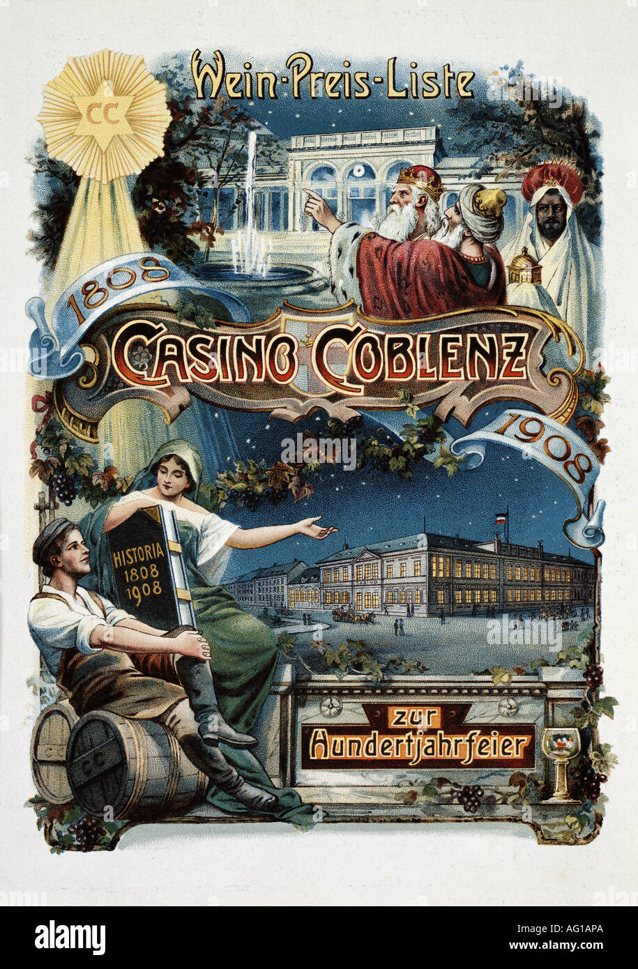 gastronomy, menus, 'Casino Coblenz', 1908, menu, , Additional-Rights-Clearances-NA - Stock Image