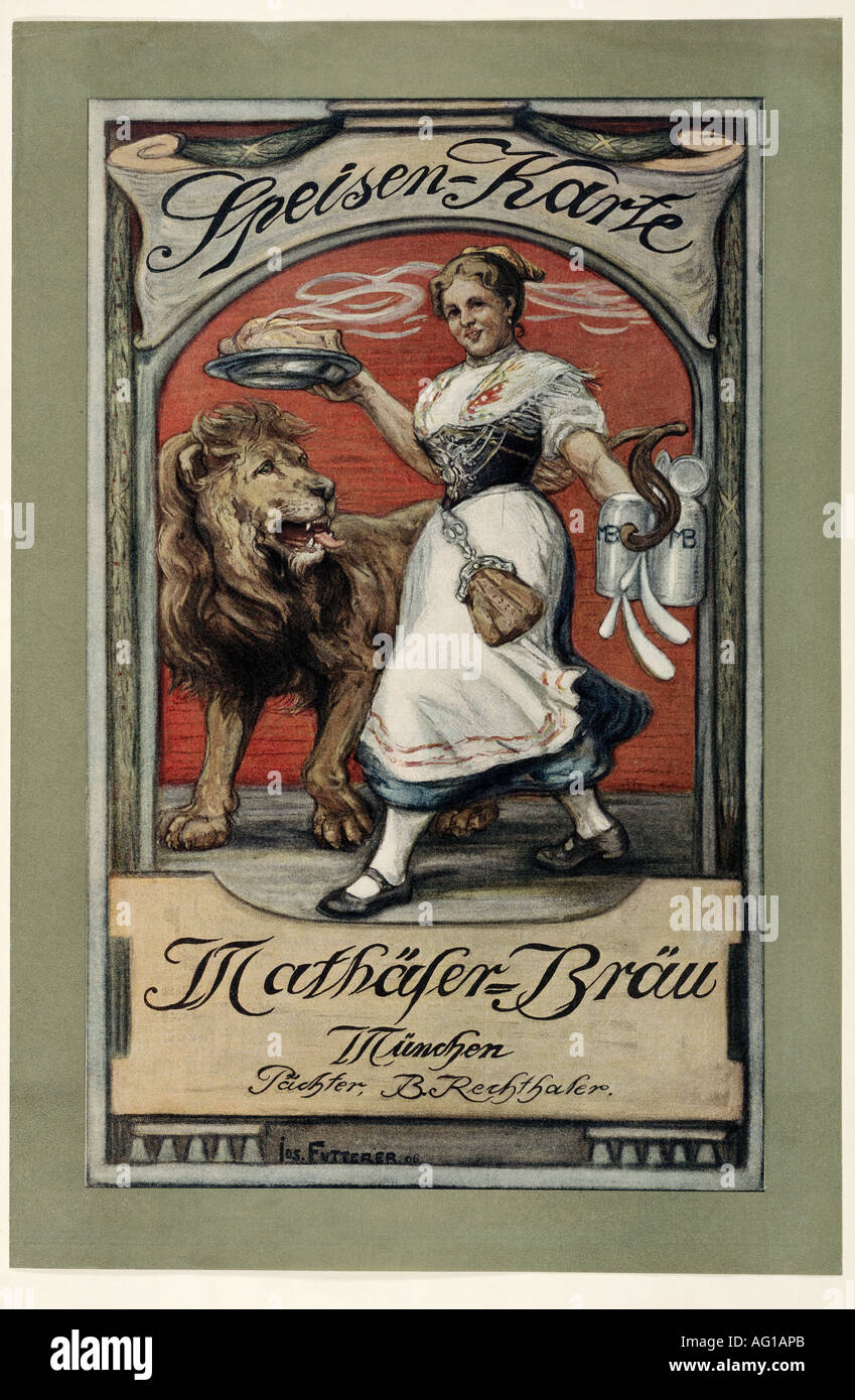 advertising, gastronomy, menus, 'Mathäser - Bräu', Munich, 1906, design by Josef Futterer, menu, , Additional-Rights-Clearances-NA - Stock Image