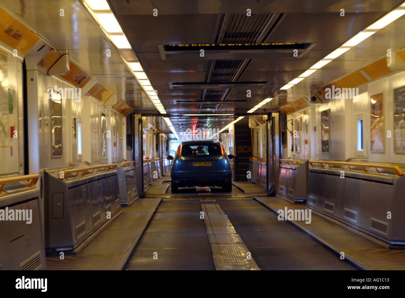 Eurotunnel Interior Of Carriage Cross Channel Train Car Disembarks