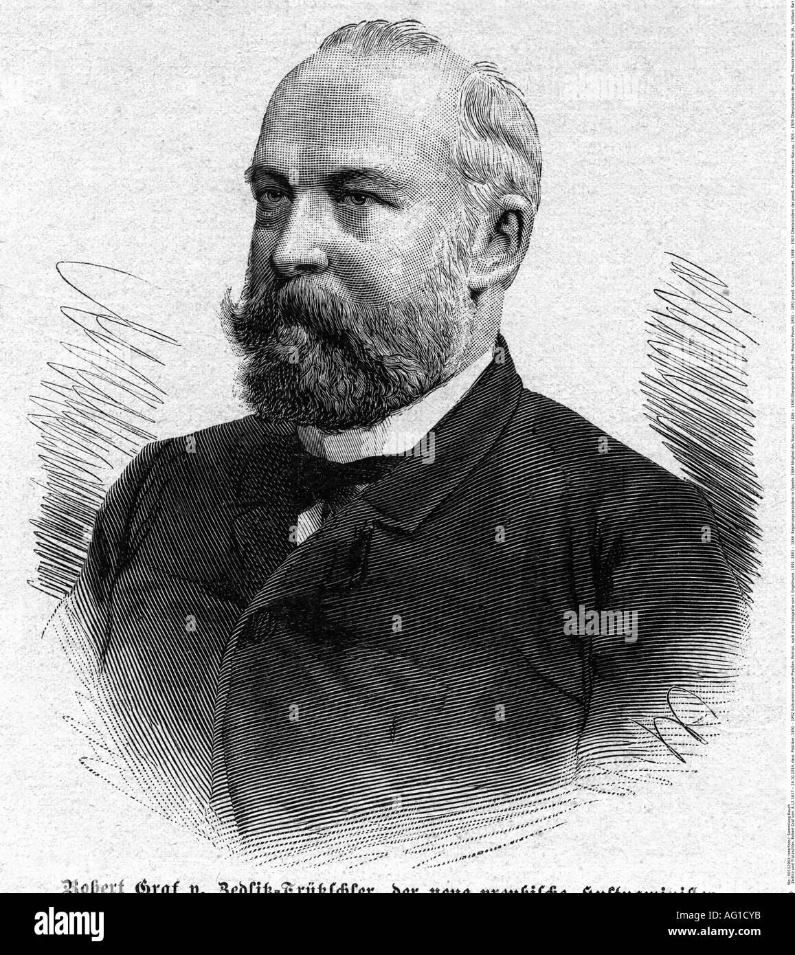 Zedlitz und Trützschler, Robert Graf von, 8.12.1837 - 24.10.1914, German politician, 1891 - 1892 Secretary of State for Culture of Prussia, engraving, based on a photo from I. Engelmann, 1891, Additional-Rights-Clearances-NA - Stock Image