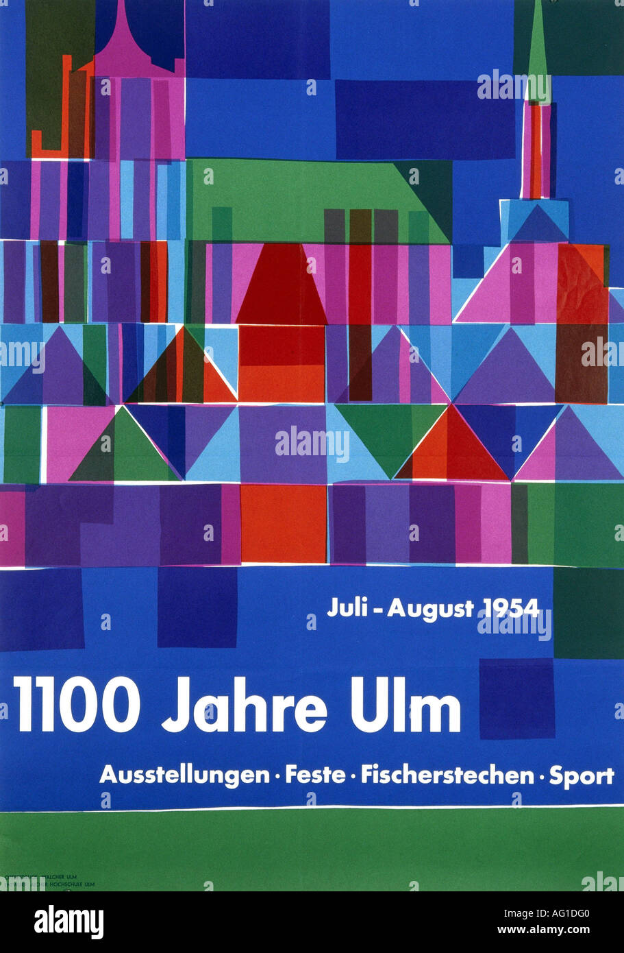 advertising, events, 1100 Jahre Ulm, July - August 1954, poster, design by Otl Aicher (1922 - 1991), historical, historic, Germany, , Additional-Rights-Clearances-NA - Stock Image
