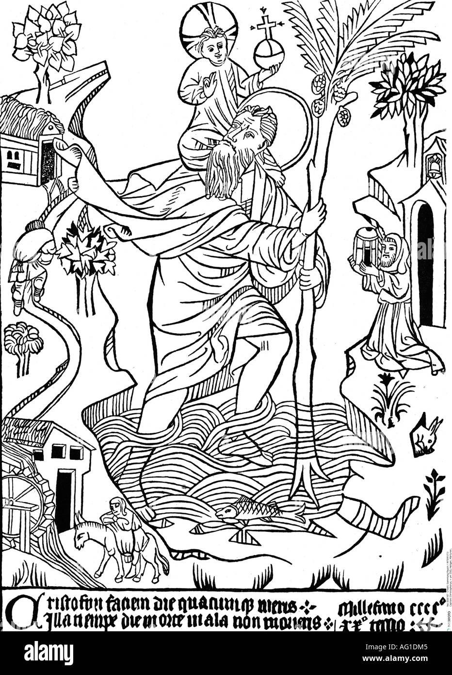 "Christopher, + circa 250, Saint, Martyr, ""Saint Christoph of Buxheim"", woodcut, 15th century, Christophorus carrying Stock Photo"