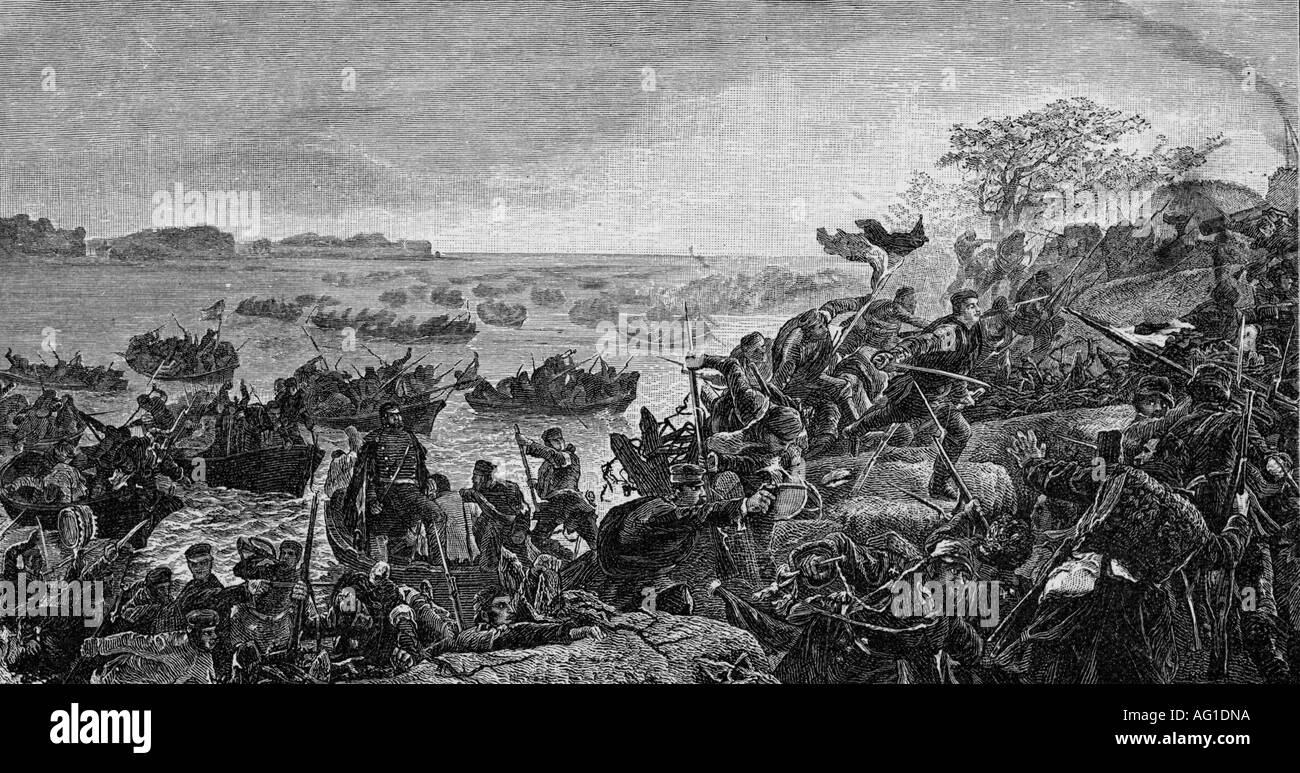 events, Second War of Schleswig 1864, Battle of Als, 29.6.1864, Prussian troops crossing the Alssund, wood engraving after drawing by Georg Bleibtreu (1828 - 1892), Danish Prussian War, Germany, Denmark, Prussia, battle, soldiers, landing, warfare, historic, historical, Als, sound, Alsen, Sund, 19th century, Wars of German Unification, people, Additional-Rights-Clearances-NA - Stock Image