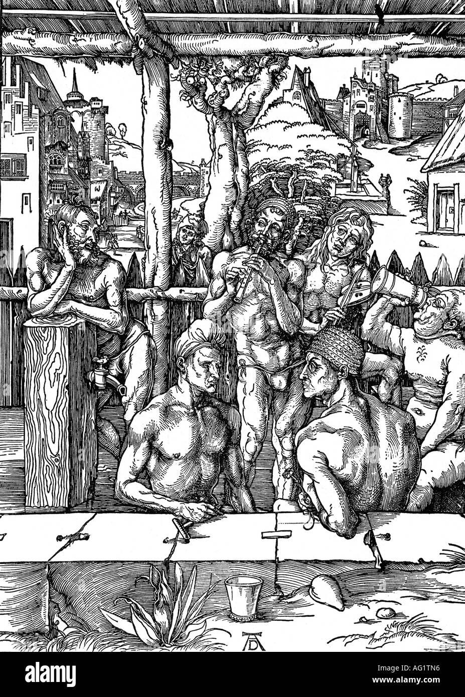 bathing, baths, menœs bath, woodcut by Albrecht Dürer, 1497, renaissance,  historic, historical, 15th century, mens, men, Duerer,