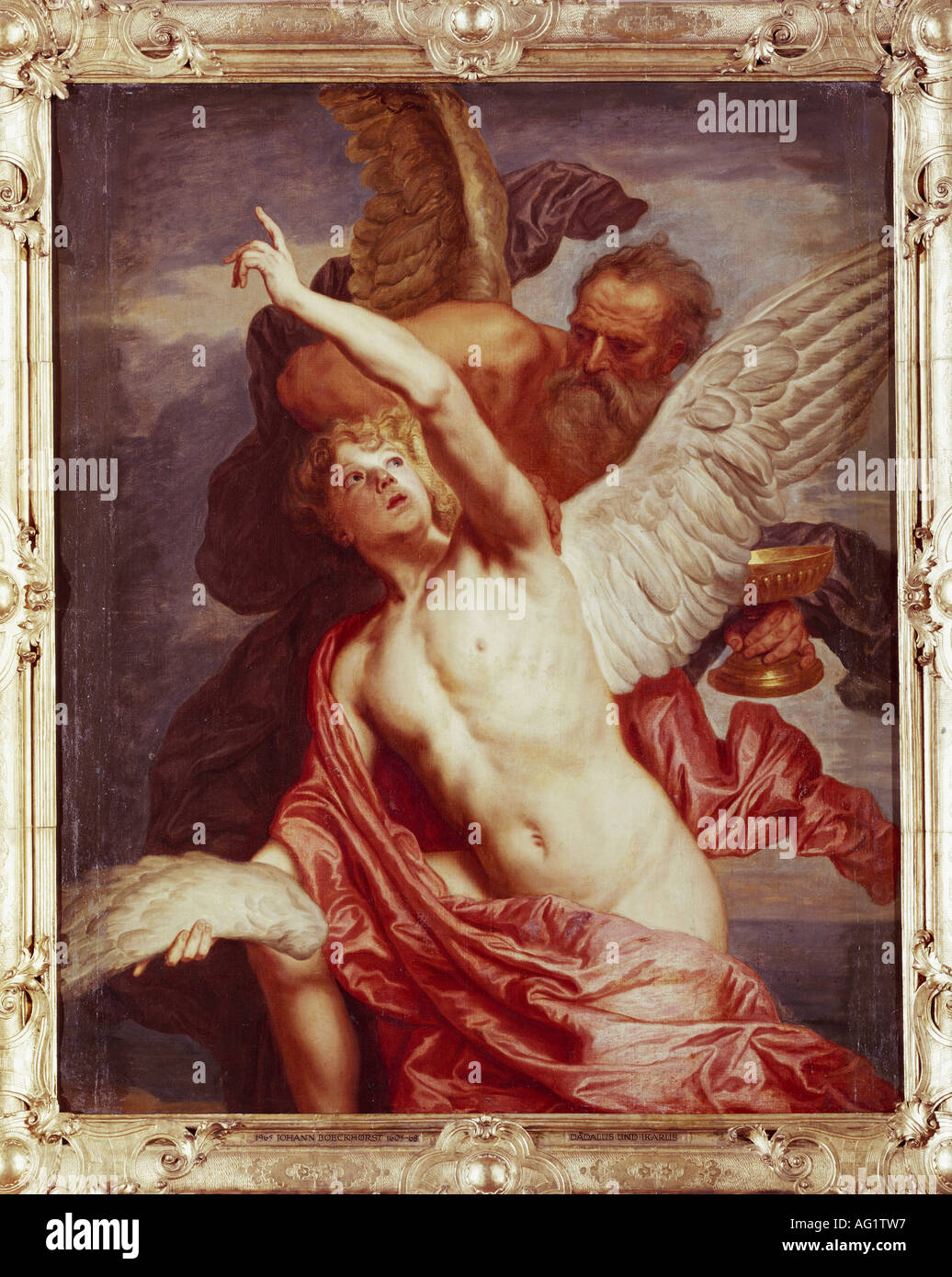 'fine arts, Boeckhorst, Jan van, (1605 - 1668), painting, 'Daedalus and Icarus', Schleißheim castle, Munich, Germany, Europe, - Stock Image