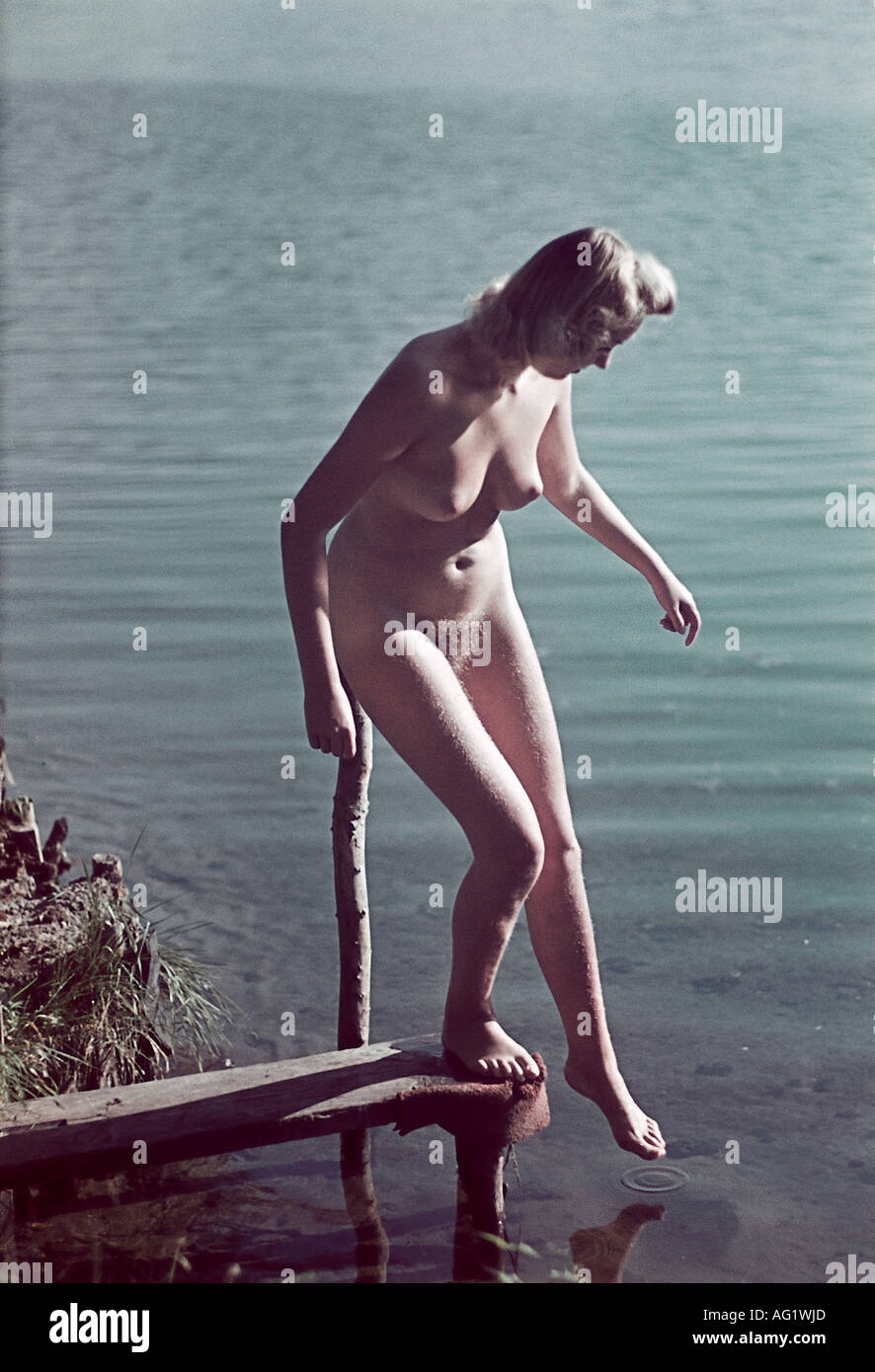 German woman nude People Nude Naked Woman At A Lake Germany 1940s 40s Eroticism Stock Photo Alamy