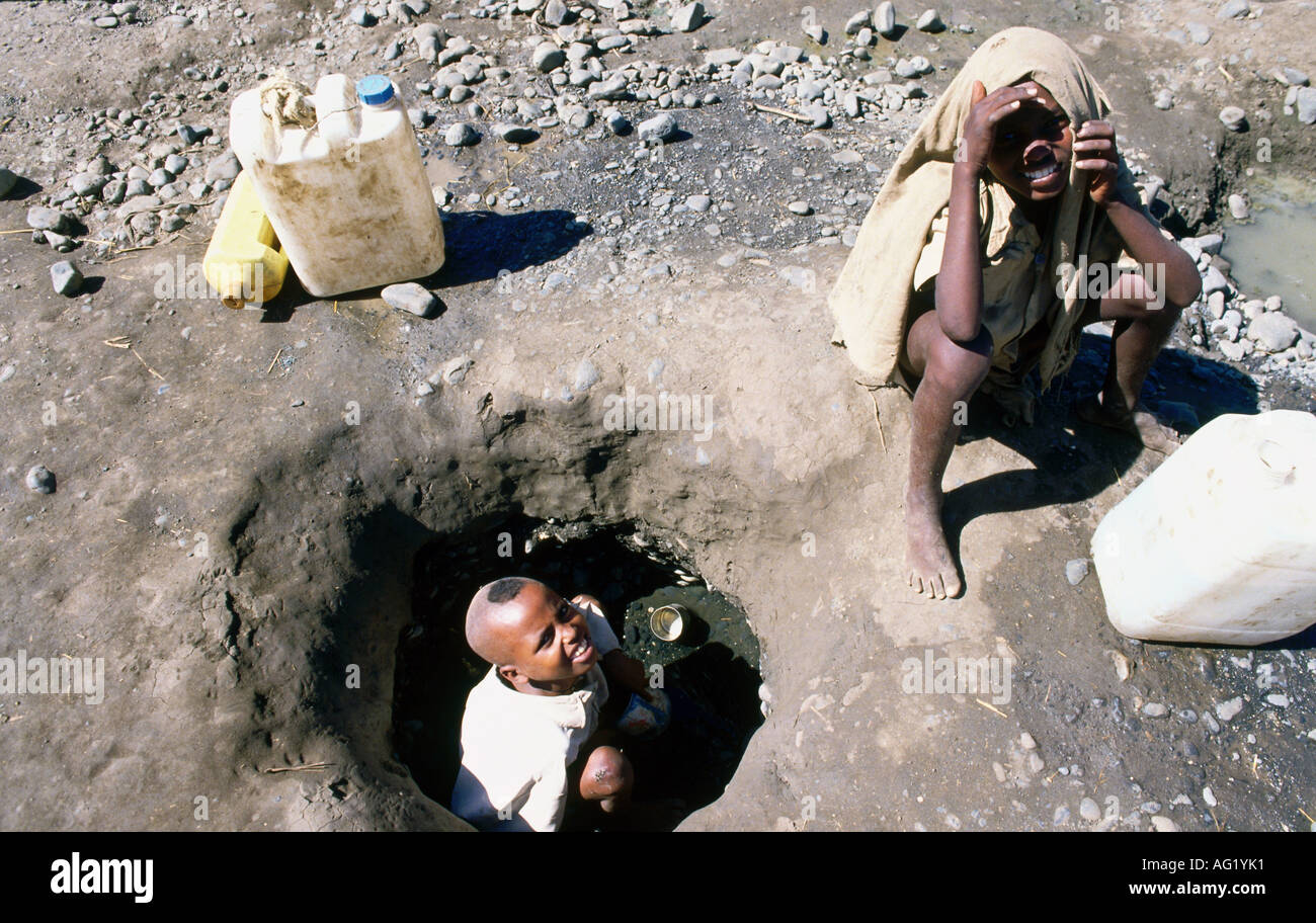 geography / travel, Sudan, people, Wad Kowli, two boys searching for water, well, refugees from Ethiopia, Additional - Stock Image