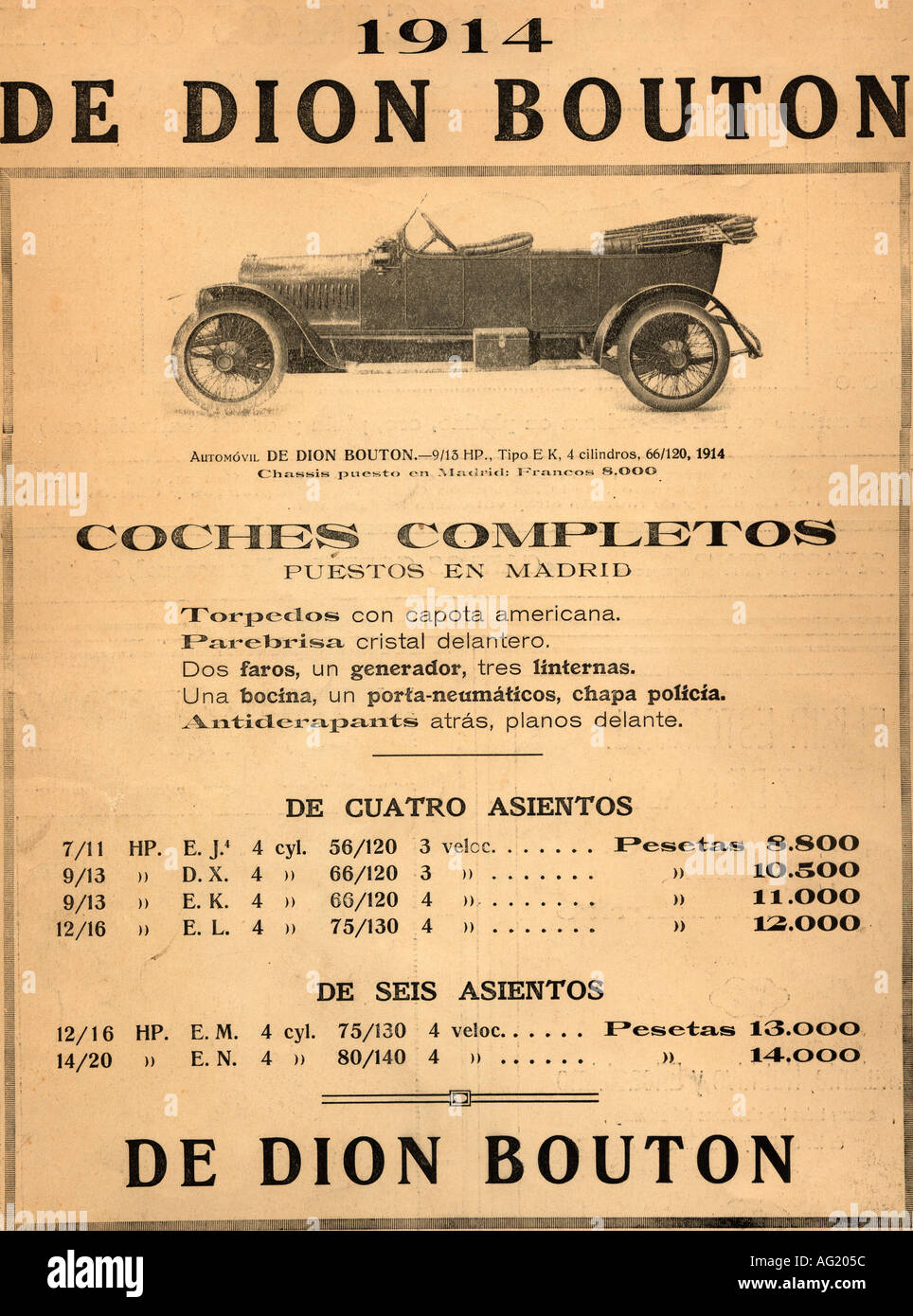 Spanish advertisement for a 1914 De Dion Bouton car. - Stock Image