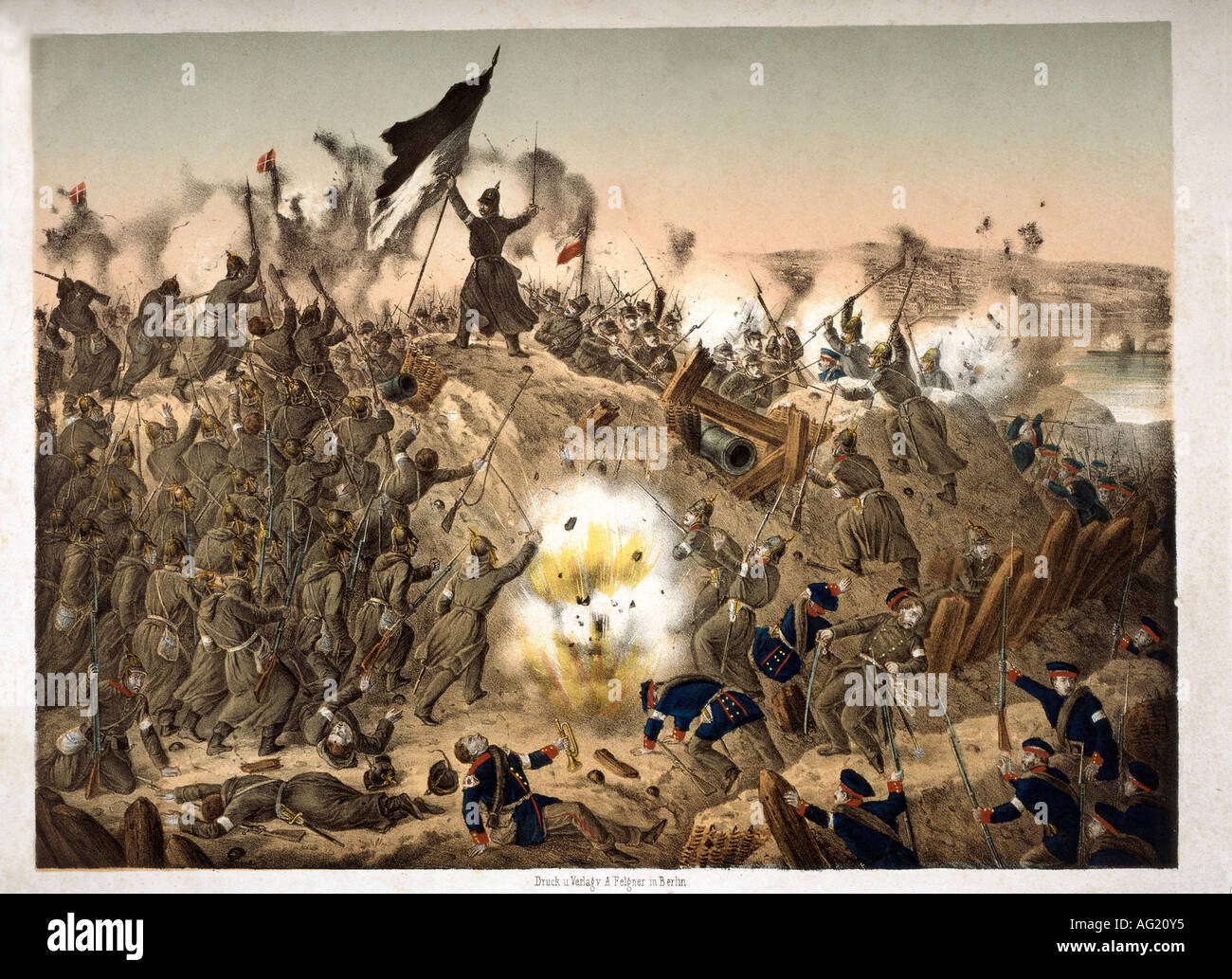events, Second War of Schleswig 1864, Prussians storming the Dybbel trenches, 18.4.1864, engraving, 19th century, Danish Prussian War, Germany, Denmark, Prussia, battle, prussian soldiers, battle, infantry, attack, warfare, historic, historical, people, Additional-Rights-Clearances-NA - Stock Image