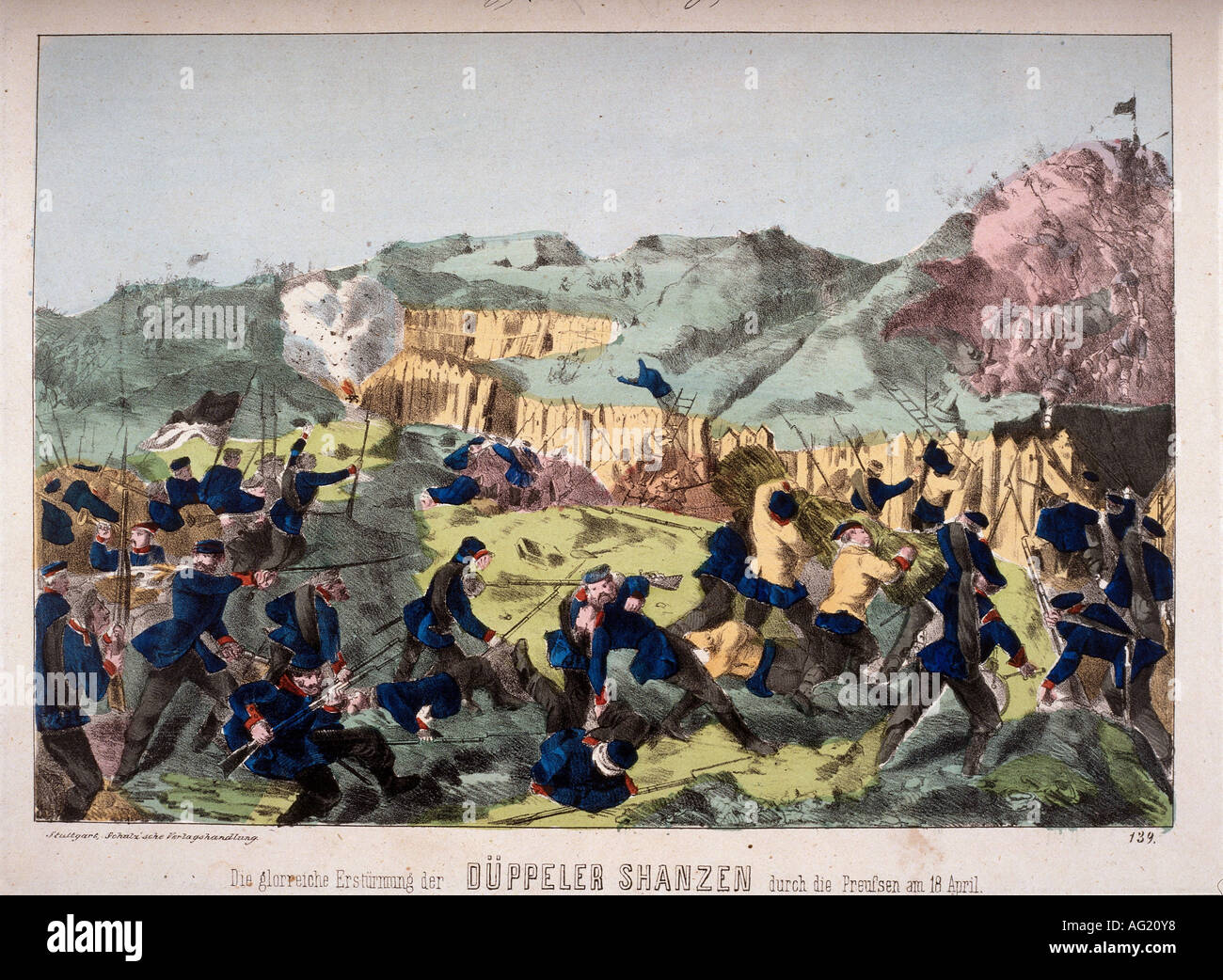 events, Second War of Schleswig 1864, Prussians storming the Dybbel trenches, 18.4.1864, engraving, published by Schulz, Stuttgart, 19th century, Danish Prussian War, Germany, Denmark, Prussia, battle, prussian soldiers, battle, infantry, sappers, attack, warfare, historic, historical, people, Additional-Rights-Clearances-NA - Stock Image
