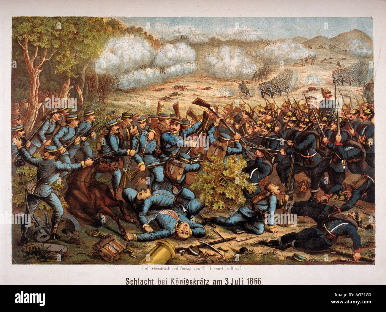 Austro-Prussian War 1866, Battle of Koeniggraetz, 3.7.1866, encounter between Prussian and Saxon infantry, oil chromotypography, Th. Goernert, Dresden, 19th century, Prussia, Saxony, Czechia, Czech Republic, Austria, Moravia, Sadova, Hradec Kralove, Prussian soldiers, Saxon infantry, Prussian - Austrian war, crowd, crowds, crowds of people, battle, battles, encounter, encounters, historic, historical, Koeniggraetz, Königgrätz, Koniggratz, Goernert, Görnert, Gornert, Additional-Rights-Clearances-NA - Stock Image
