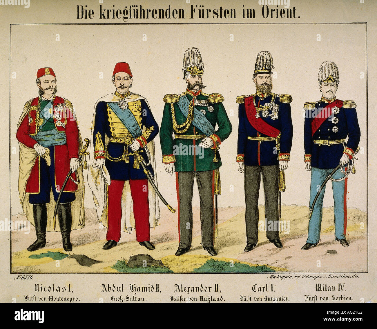 events, Russo-Turkish War 1877 - 1878, the warring monarchs: Nicholas I of Montenegro, Sultan Abd ul Hamid II, Alexander II of Russia, Charles I Romania, Milan IV of Serbia, engraving, Oehmigke & Riemschneider, Neuruppin, 1878, Germany, Balkans, Ottoman Empire, 19th century, Russo Turkish, historic, historical, people, Additional-Rights-Clearances-NA - Stock Image