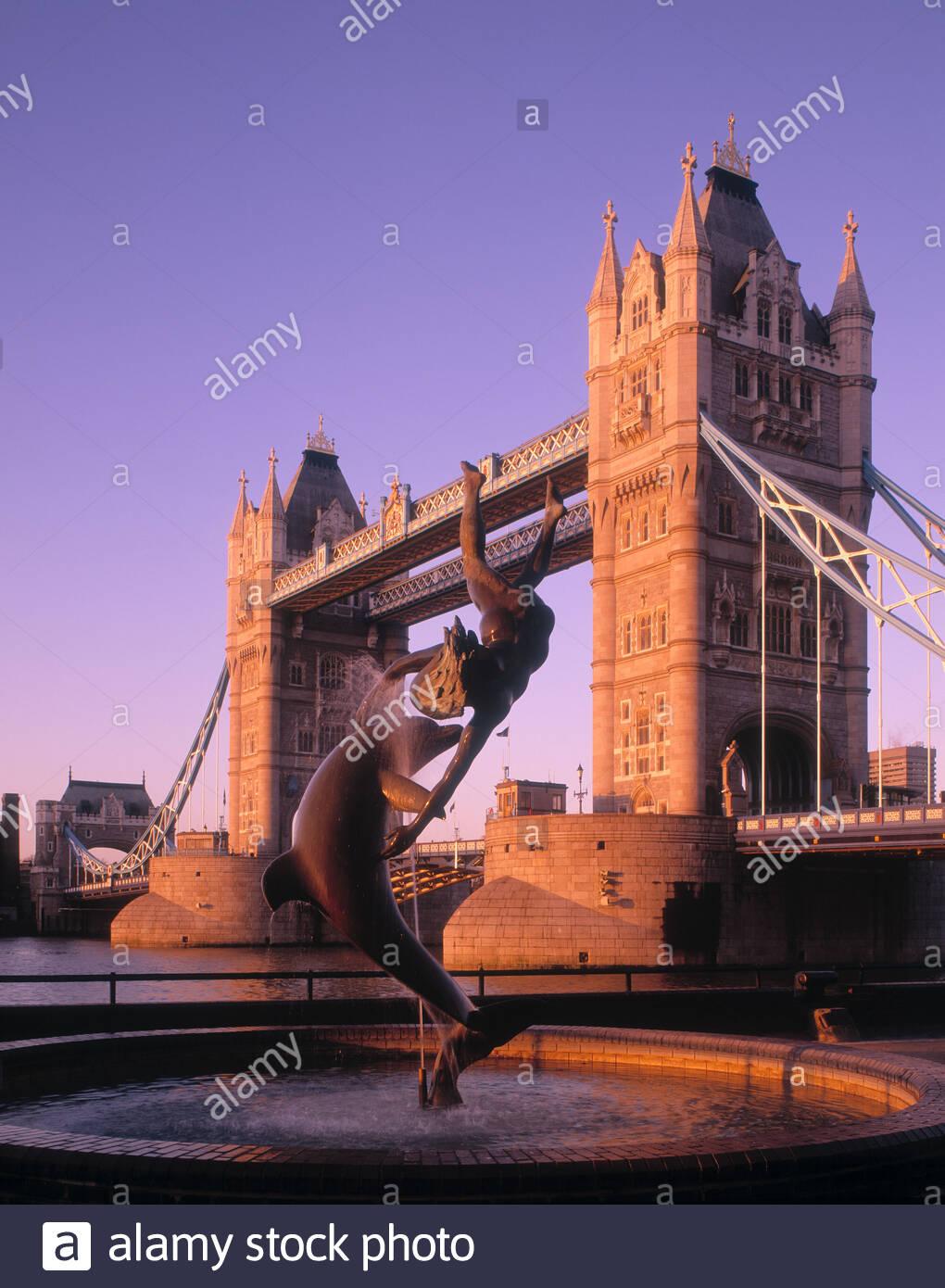 Tower Bridge London at dawn - Stock Image
