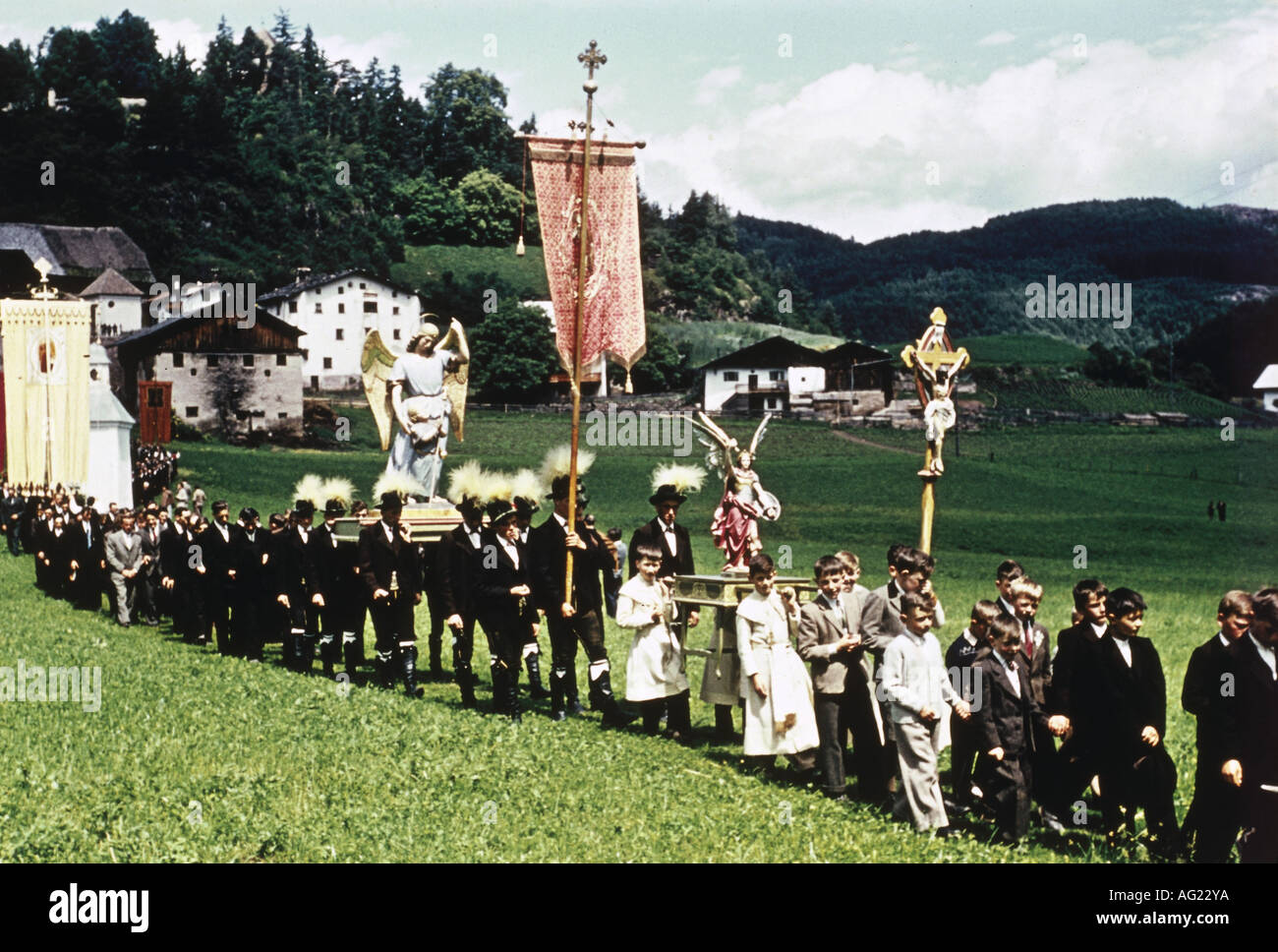 religion, christianity, ceremonies, catholic procession, Kastelruth, South Tyrol, 1950s, Italy, tradition, 50s, 20th century, , Additional-Rights-Clearances-NA - Stock Image