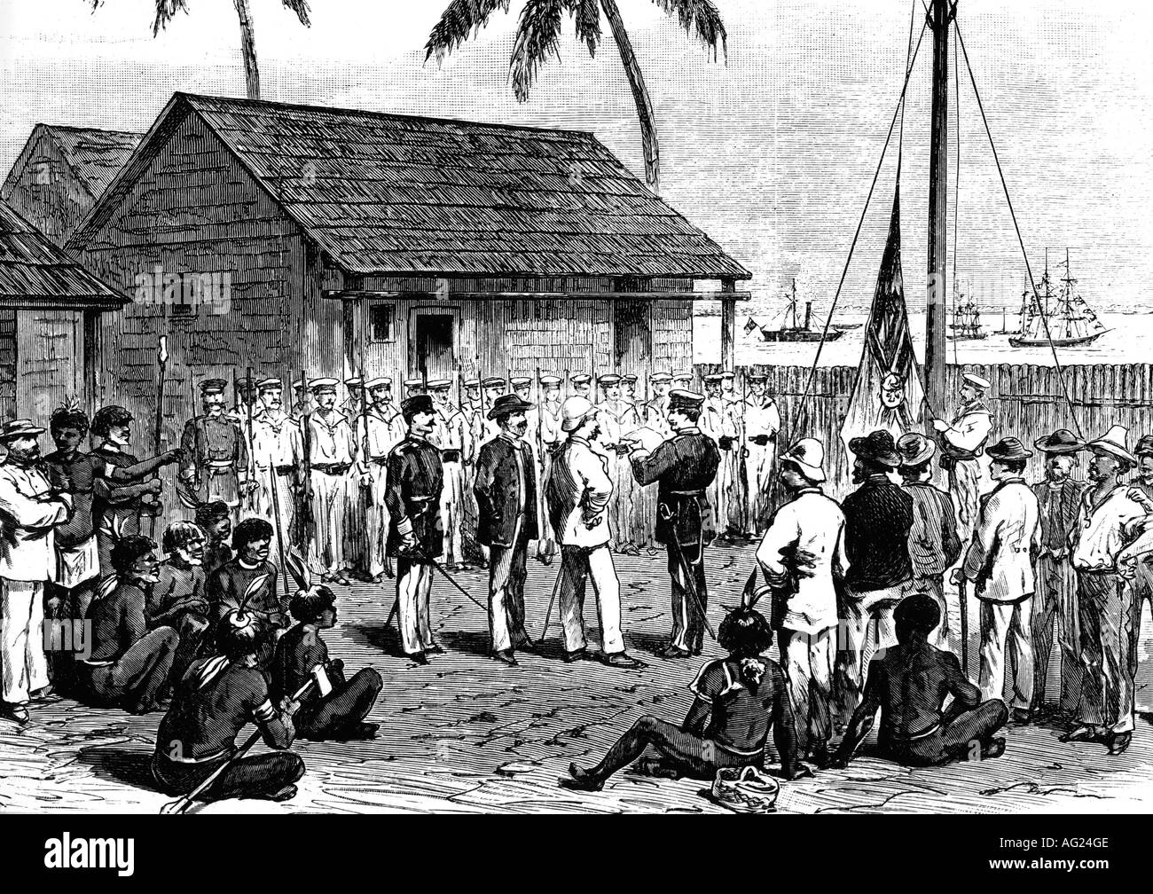 colonialism, German colony Deutsch-Neuguinea, hoisting the German flag in Mioko, Duke of York Island, Bismarck Archipelago, 4.11.1884, Additional-Rights-Clearances-NA - Stock Image