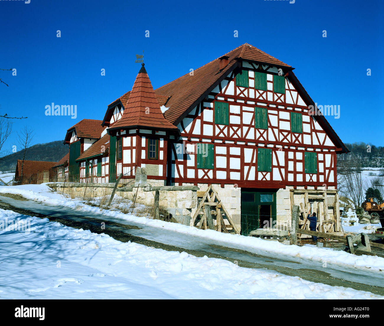 architecture building timbered house sheep shelter germany stock photo 8039807 alamy. Black Bedroom Furniture Sets. Home Design Ideas