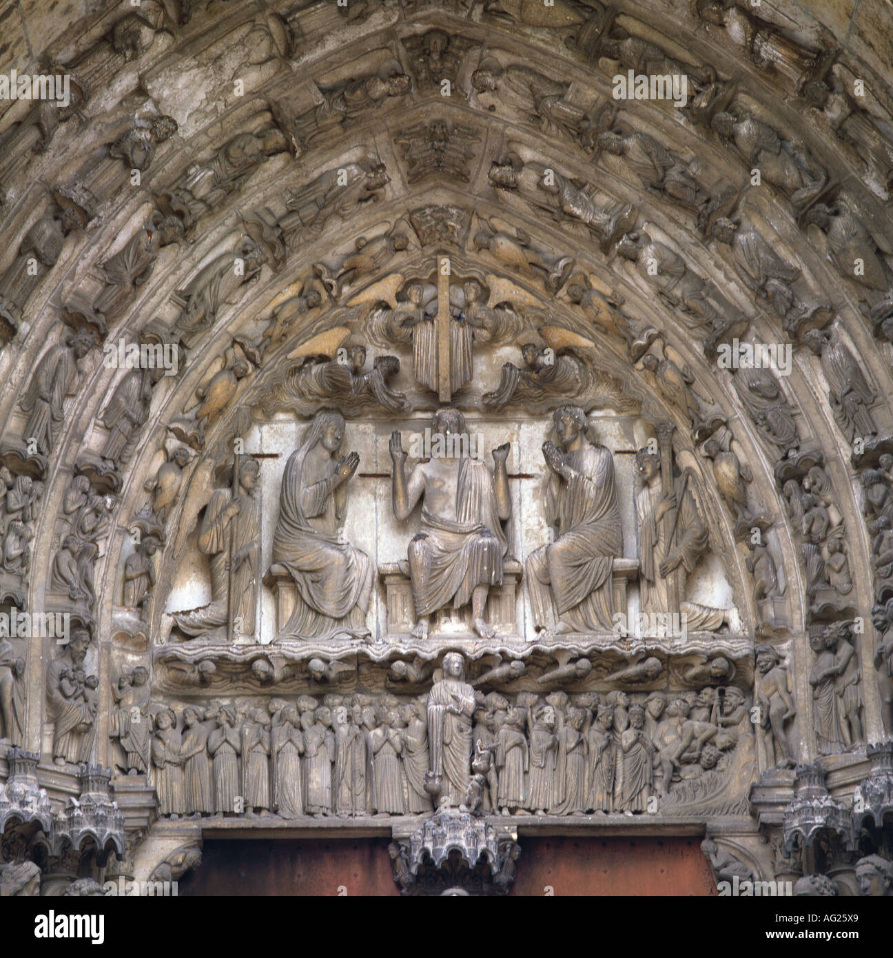 architecture, churches and convents, detail, Tympanum, last judgement, south porch, Notre-Dame cathedral, built Stock Photo