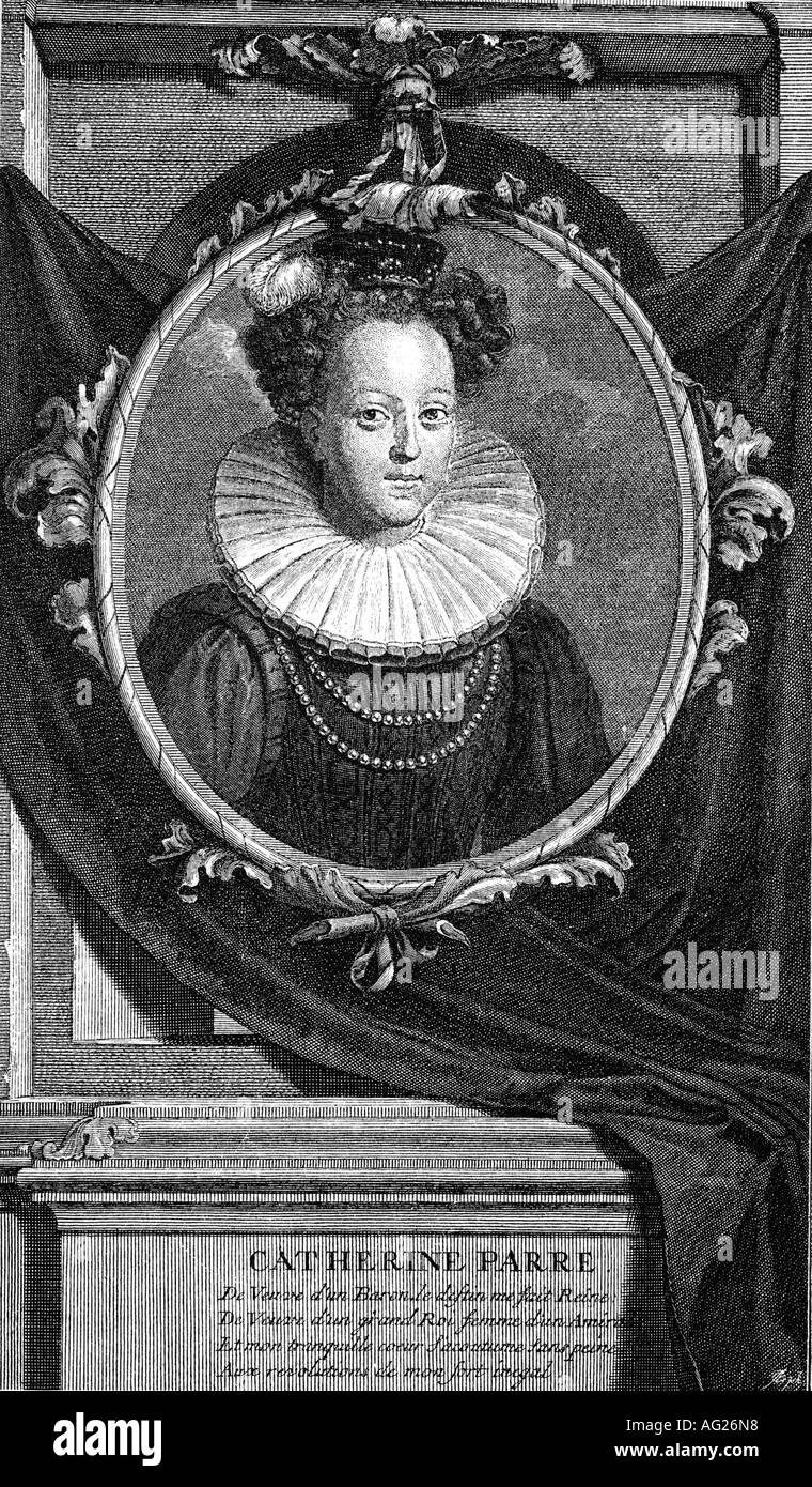 Catherine Parr, circa 1512 - 7.9.1548, queen consort of England 12.7.1543 - 28.1.1548, portrait, engraving by Vermeulen after painting by Adrian van der Werff (1659 - 1722), 6th wife of Henry VIII, Tudor,  16th century, , Artist's Copyright has not to be cleared - Stock Image
