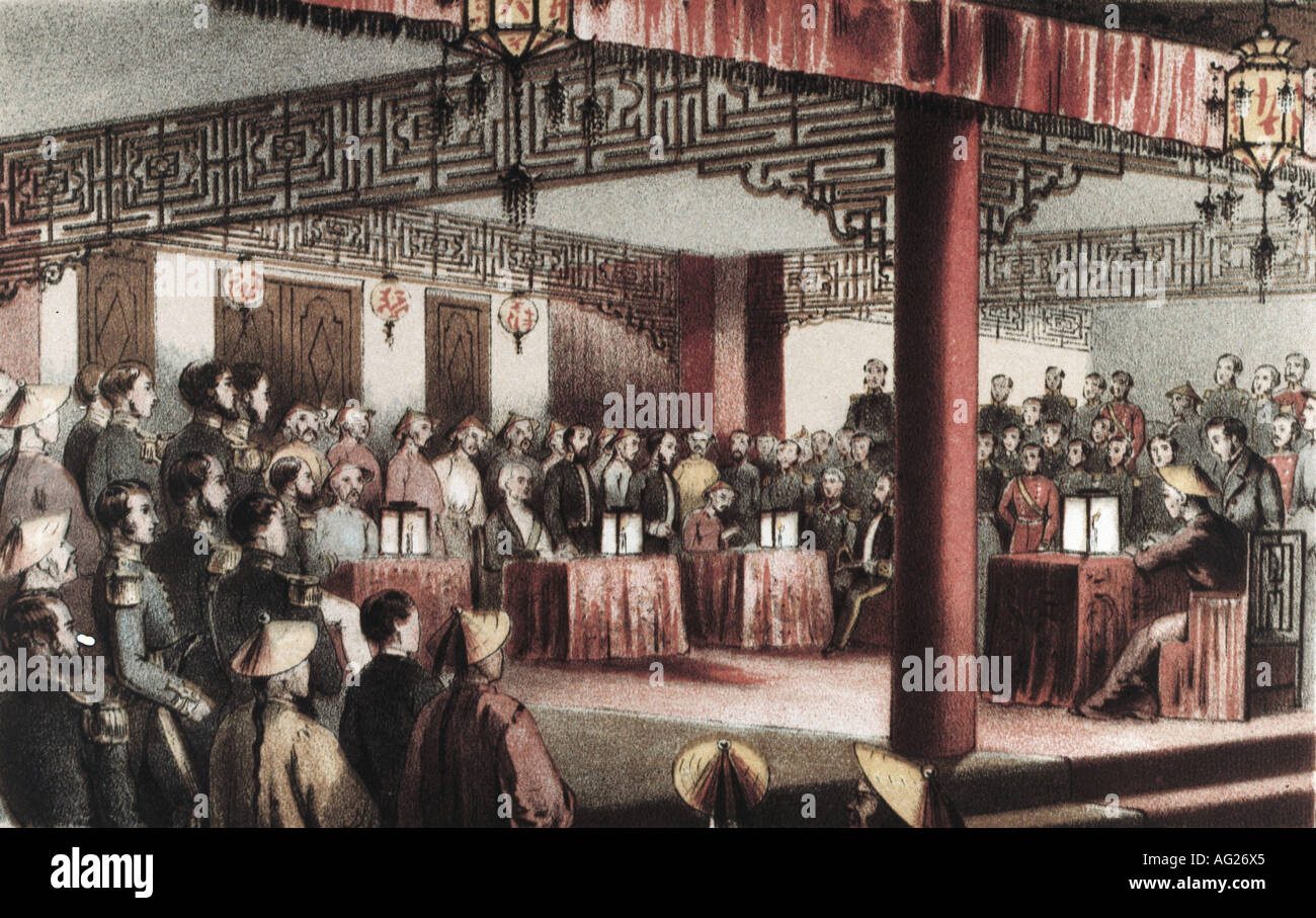events, Second Opium War 1856 - 1860, treaties of Tientsin, 26.6.1858 - 29.6.1858, signing, engraving by Hanhart after Dedwell, 1858, politics, China, Great Britain, France, Asia, colonialism, imperialism, tent, historic, historical, 19th century, people, Additional-Rights-Clearances-NA - Stock Image