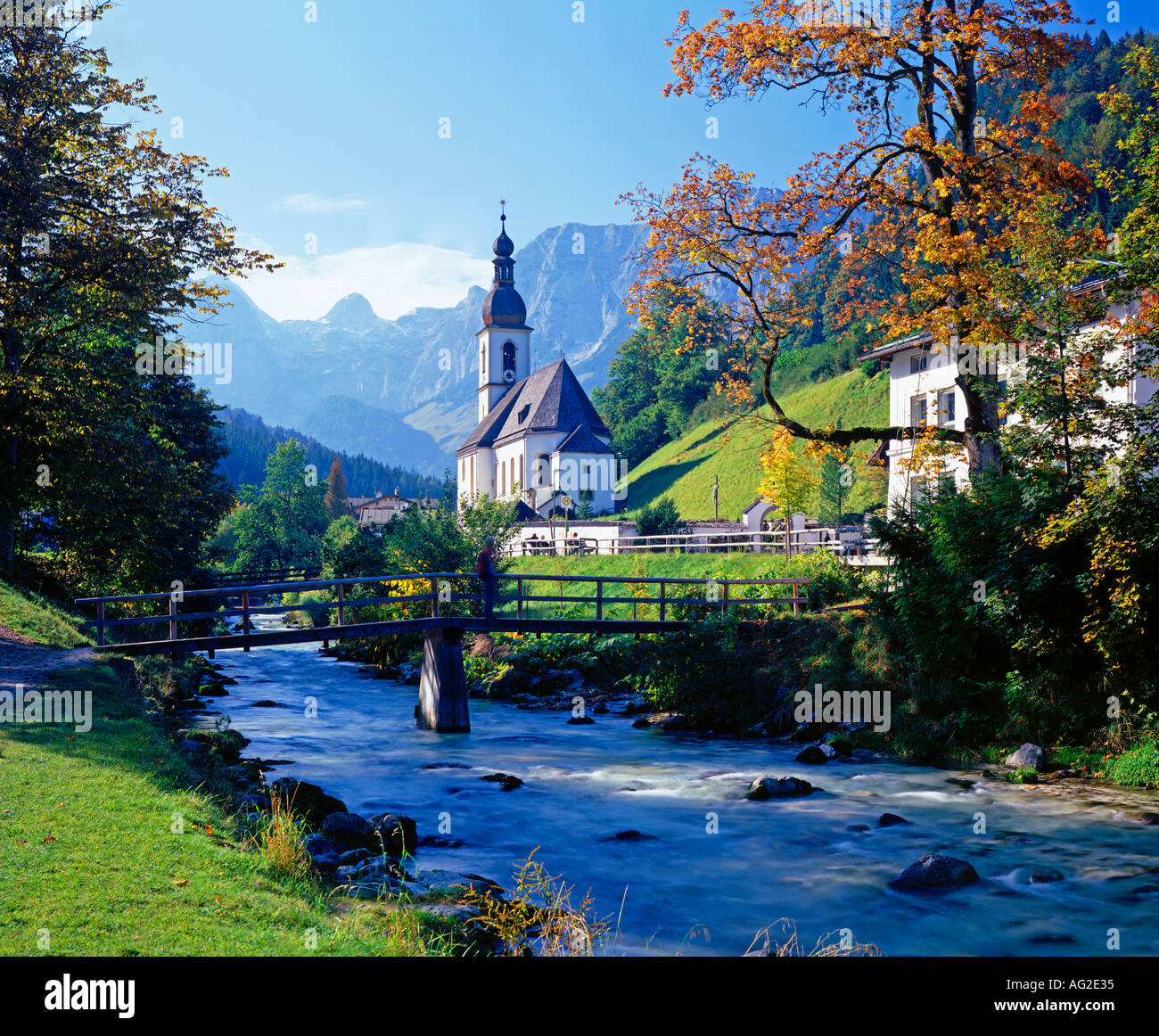 ramsau church bavaria germany near berchtesgaden stock photo