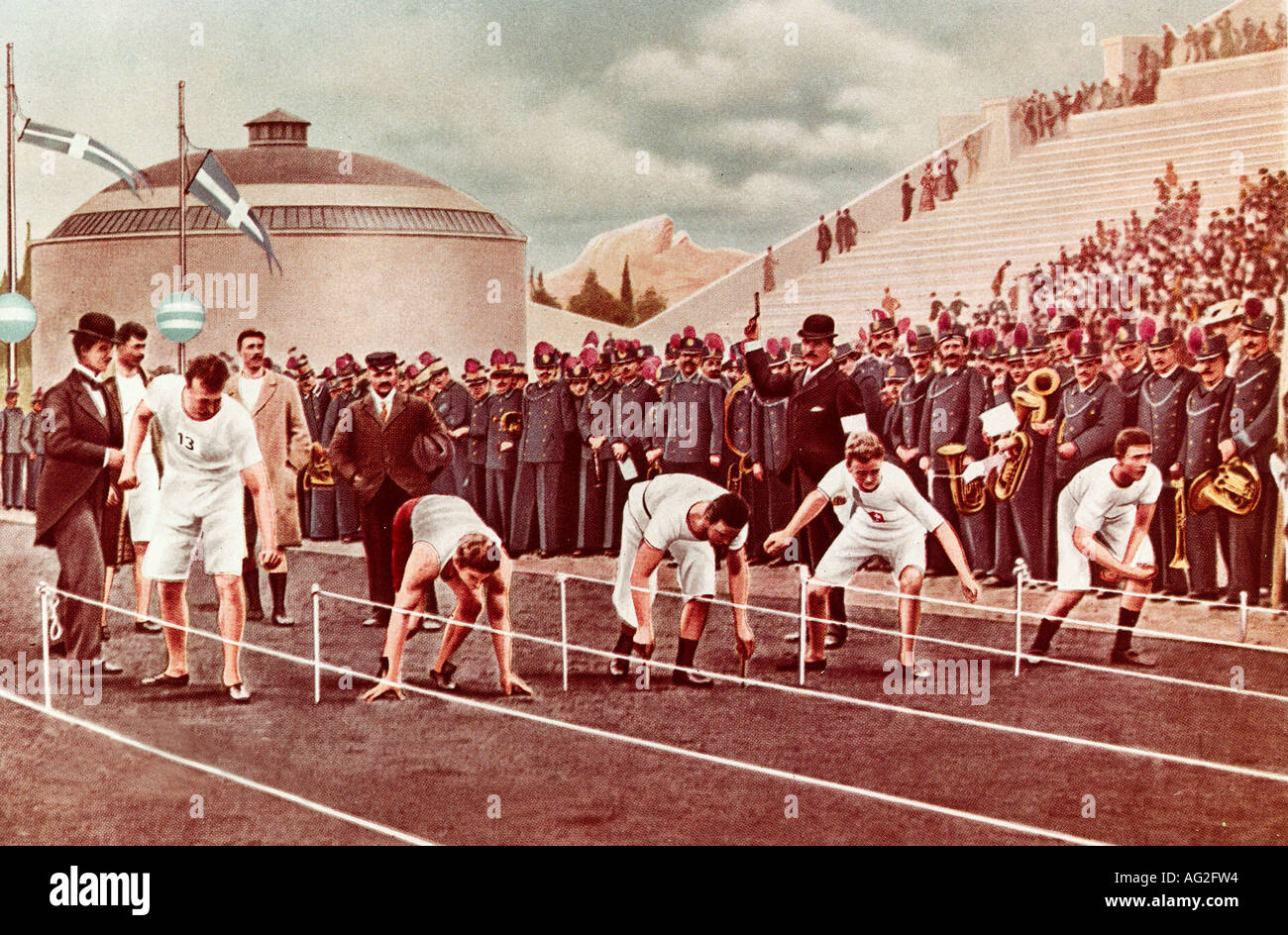 Sports, Olympic Games, finale, 100 metre run, Athens, Greece,1896, Additional-Rights-Clearances-NA - Stock Image