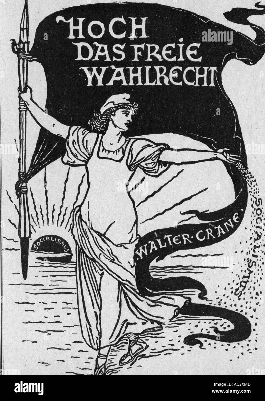 geography/travel, Germany, politics, voting right, propaganda, drawing by Walter Crane (1845 - 1915), socialism, 19th century, , Additional-Rights-Clearances-NA - Stock Image