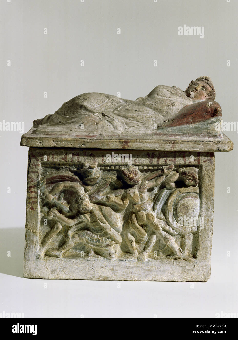 fine arts, Ancient World, Etruria, ash urn, 3th century, clay, Kestner-Museum, Hanover, Germany, Artist's Copyright has not to be cleared - Stock Image