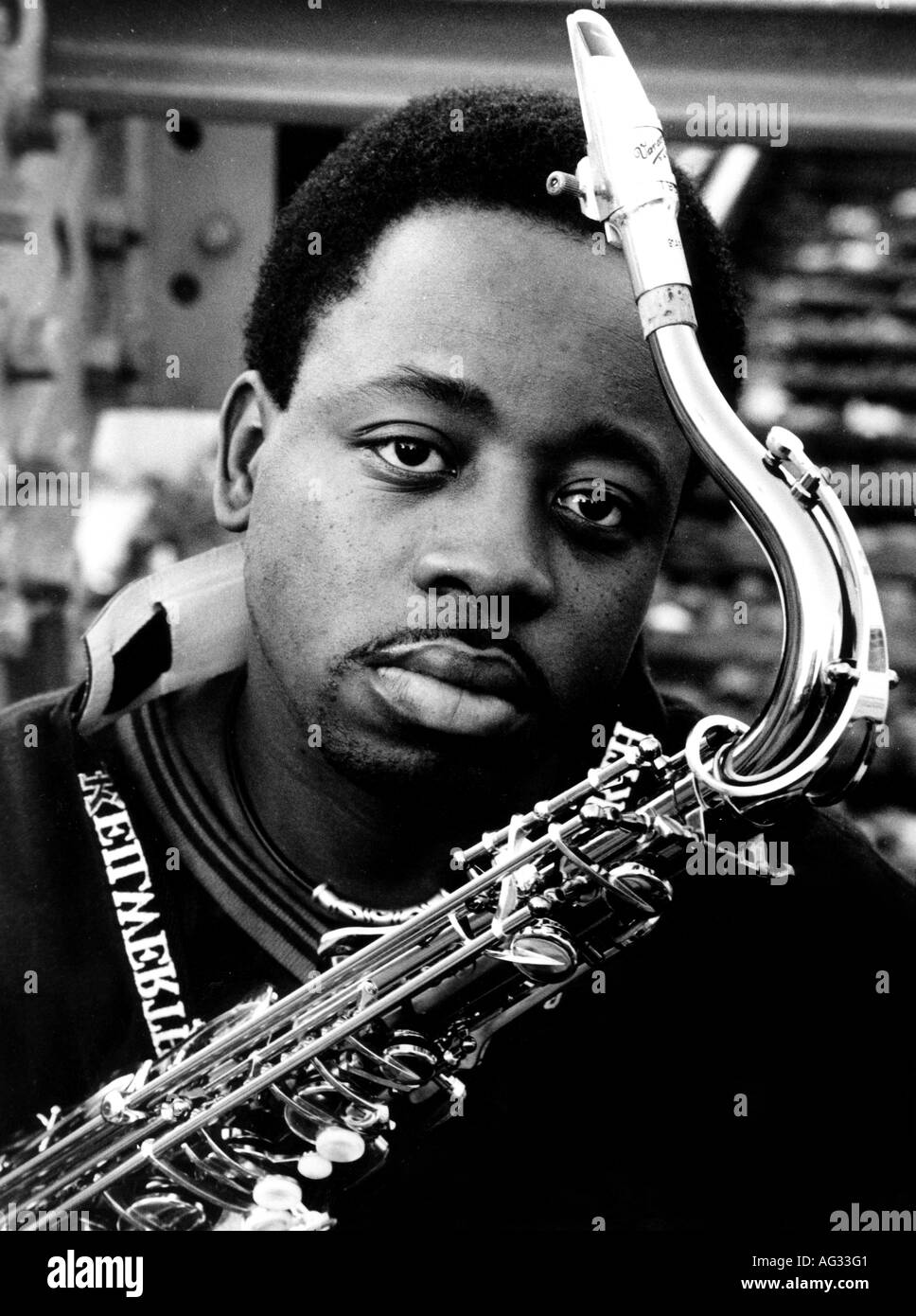 Anderson, Keith, * 1970, American musician (jazz), portrait with saxophone, Weinheim, November 1999, Additional-Rights-Clearances-NA - Stock Image