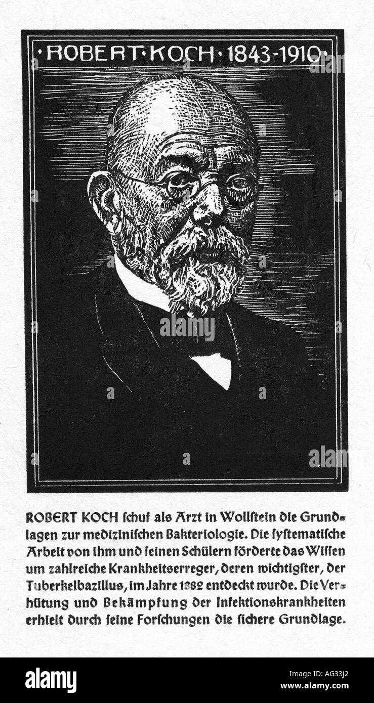 Koch, Robert, 11.12.1843 - 27.5.1910, German medic / physician (bacteriologist), portrait, woodcut, O. Graf, 'Kämpfer - Stock Image