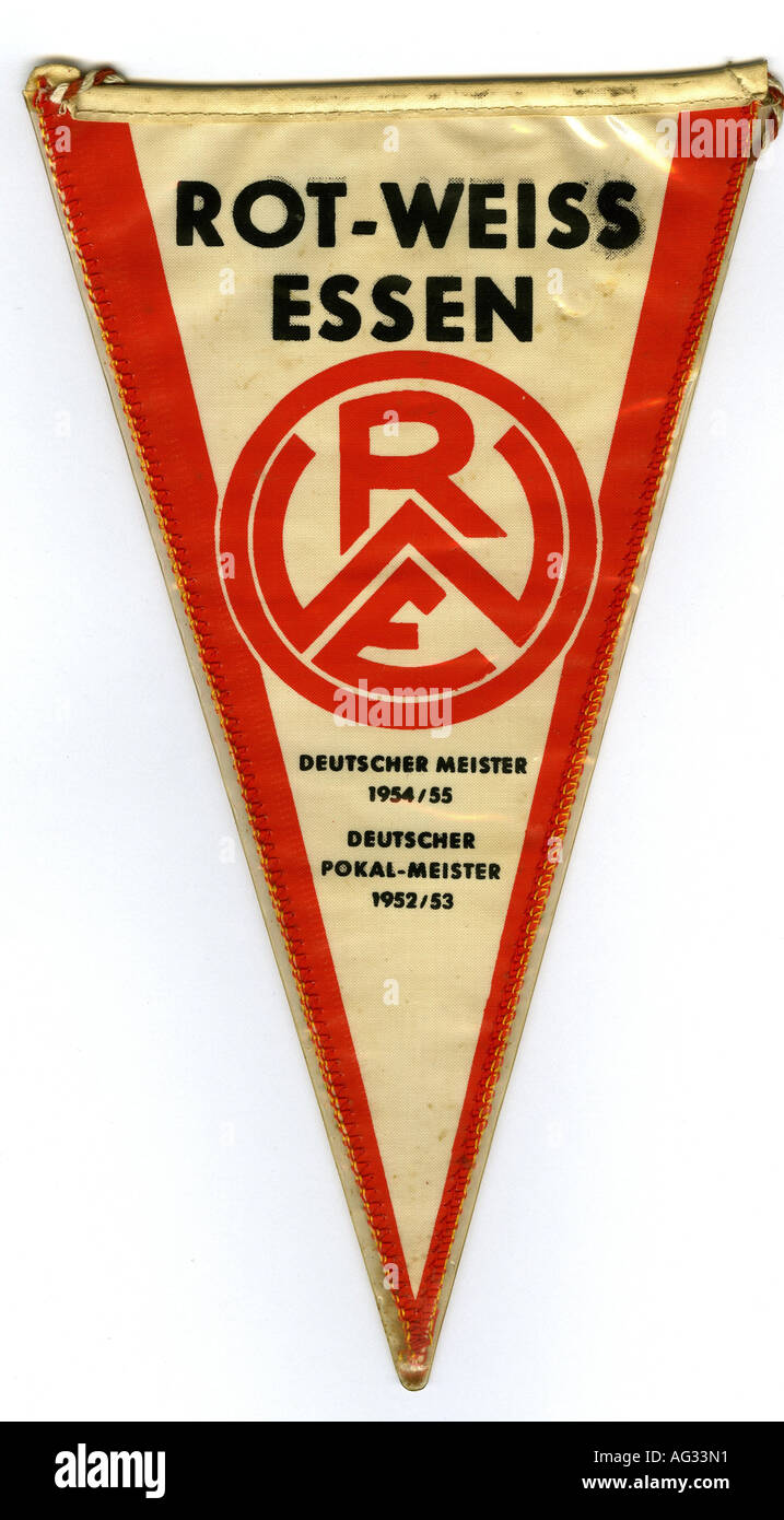 Sport / Sports, football / soccer, pennant, little flag, Rot Weiss Essen, Germany, late 1960s, Additional-Rights-Clearances-NA - Stock Image