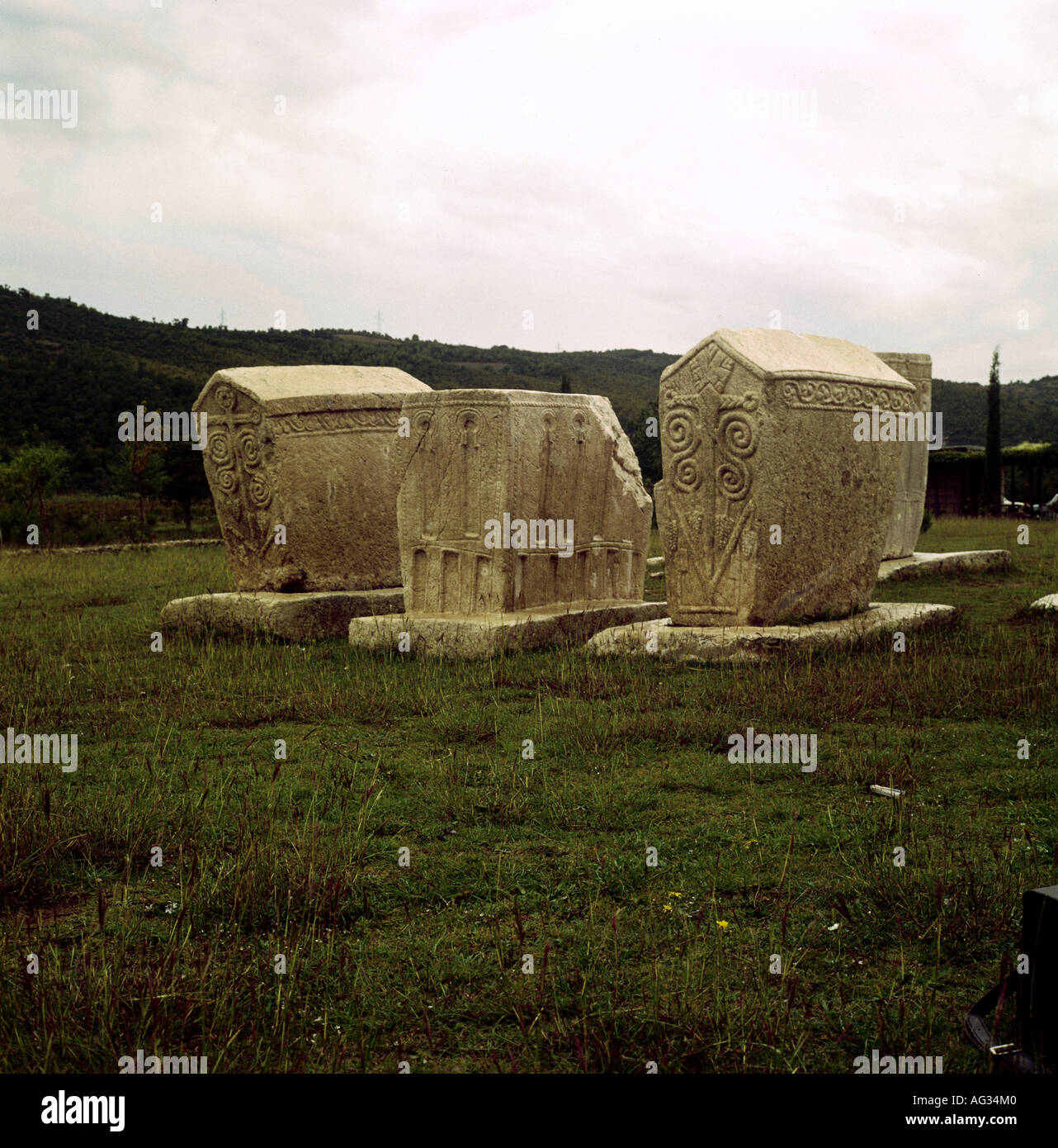 religion, christianity, sects, Bogomilism, Bogomile tomb, three stones with geometric 12th - 14th century, graveyard of Stolac, Herzegovina, historic, historical, Europe, Bosnia, middle ages, church history, heretic, gnosis, gnostics, sect, tombs, tombstone, tombstones, medieval, Additional-Rights-Clearances-NA - Stock Image