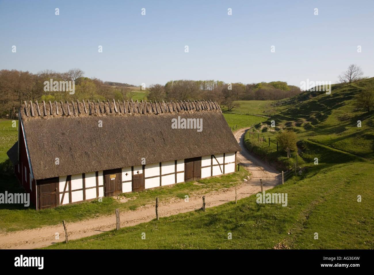 Sweden Skane farmhouse barn Havang iconic buildings Lindgrens Langa in spring May 2006 - Stock Image