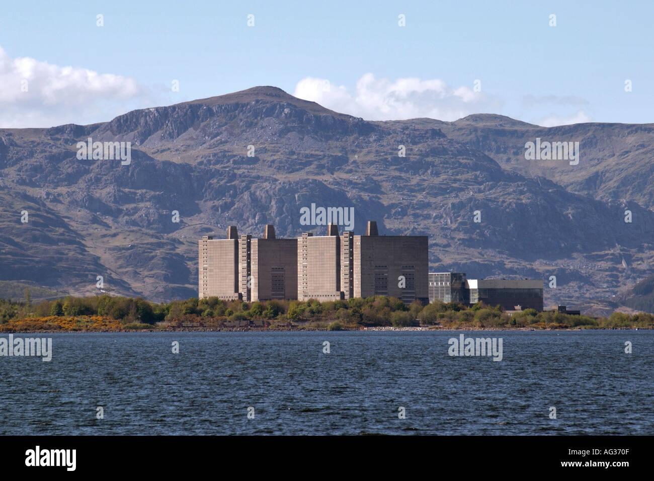 Trawsfynydd nuclear power station Gwynedd North Wales UK GB viewed over lake toward mountain range Stock Photo