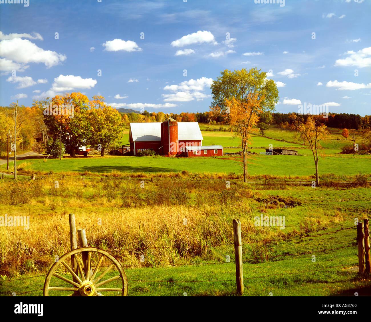 farmland and barn near Barnard Vermont USA - Stock Image