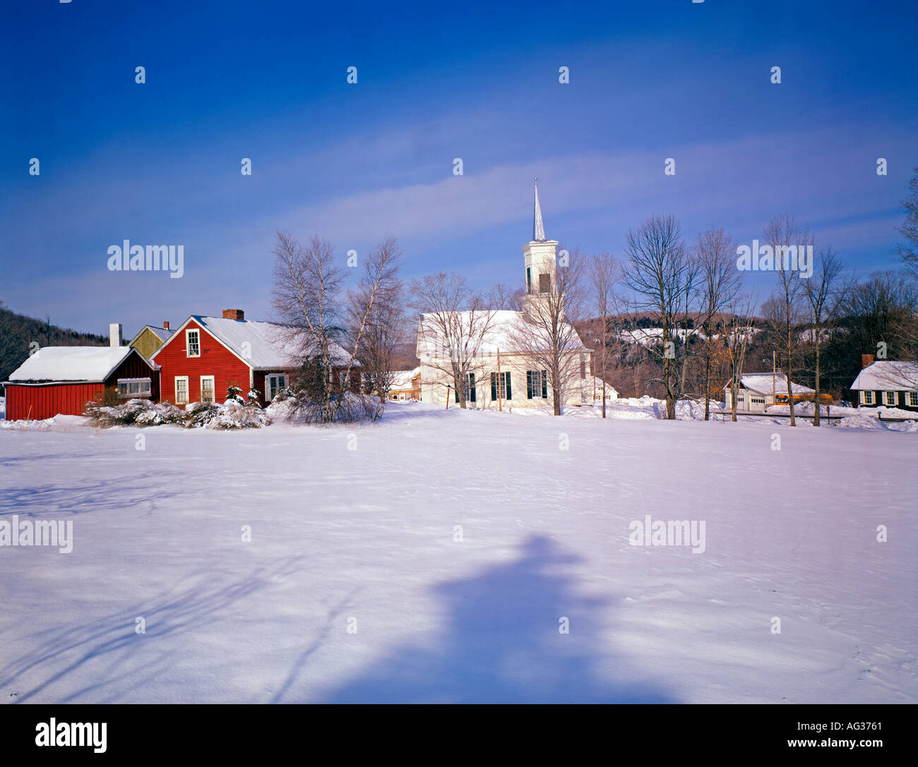 village of Barnard Vermont USA in winter - Stock Image