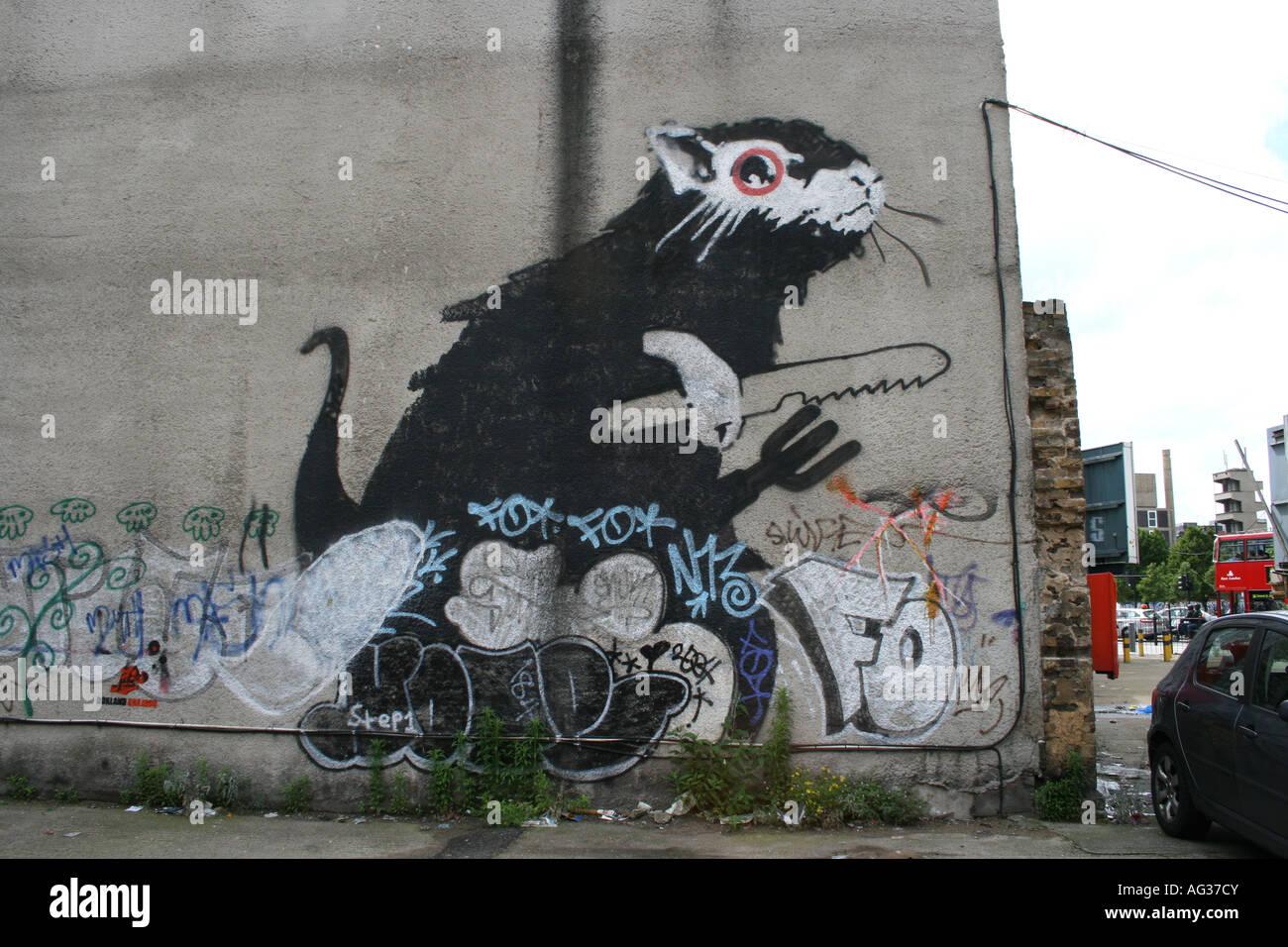 Banksy 'Giant rat' graffiti. London, England - Stock Image