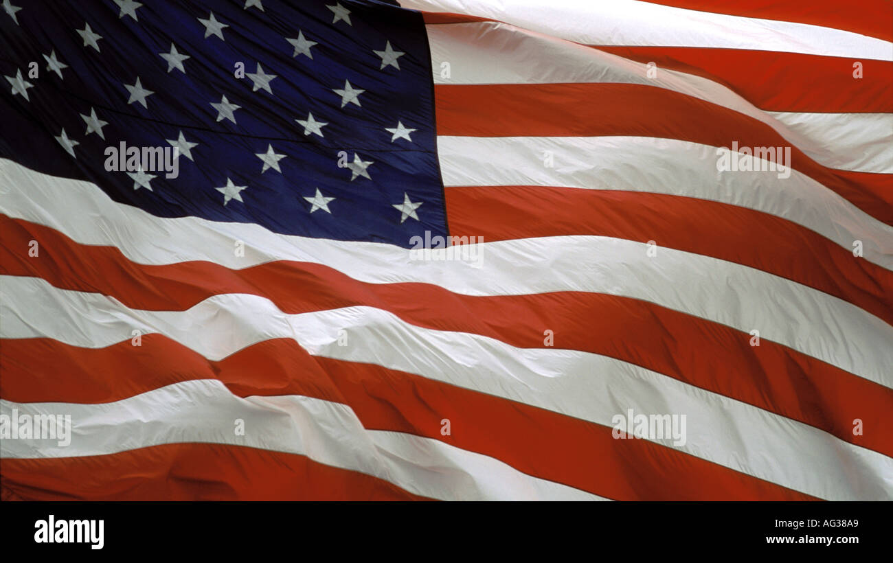 An American flag flutters in a breeze in San Francisco, California, USA - Stock Image