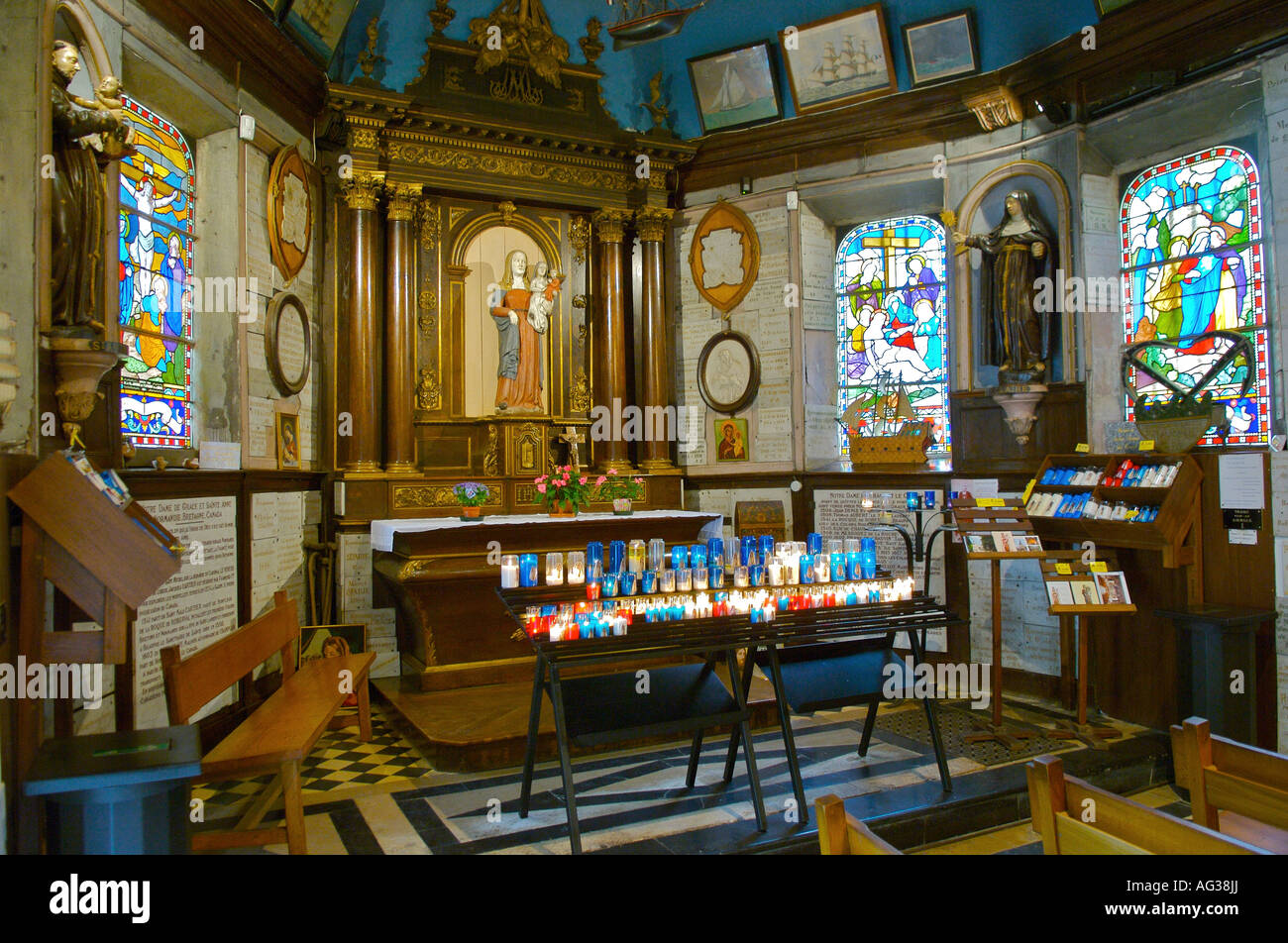 Notre Dame de Grace in Honfleur in Normandy France - Stock Image
