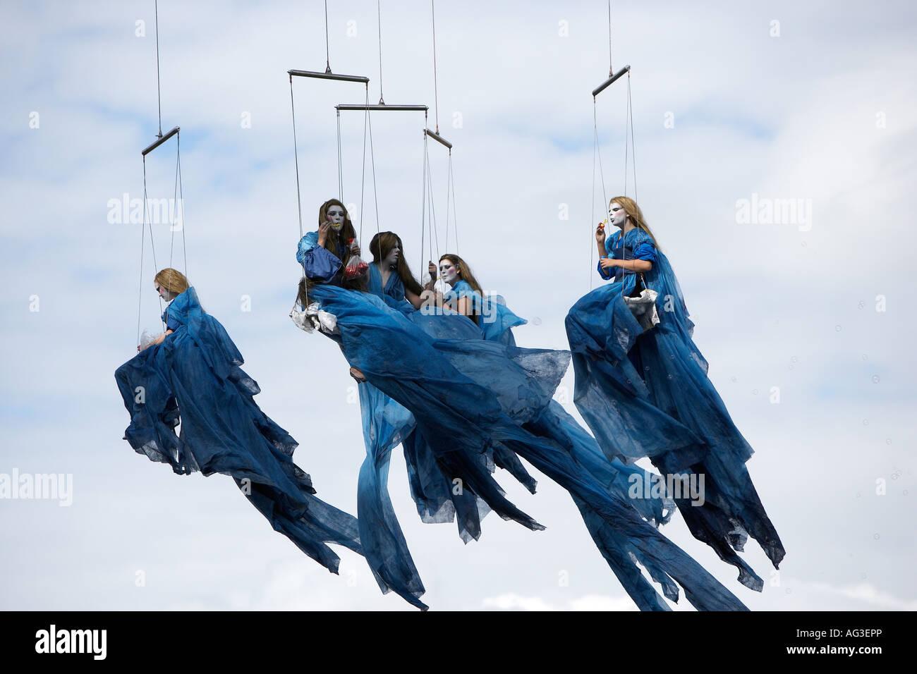 Fairies flying, Reykjavik Street Theatre Production, Iceland - Stock Image