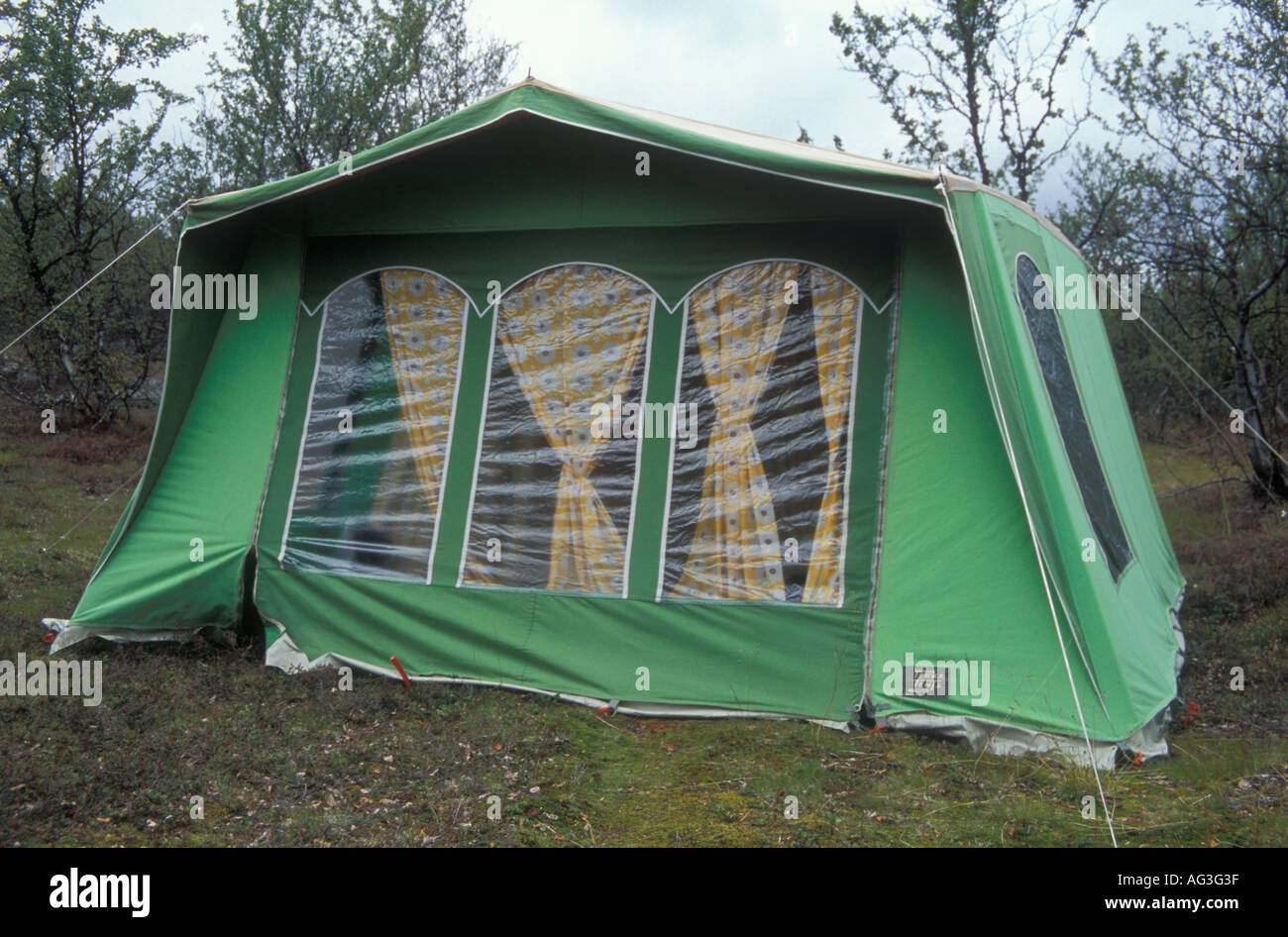 Old fashioned style square tent in the back of a house in Vestre Jakobselv Norway & Old fashioned style square tent in the back of a house in Vestre ...