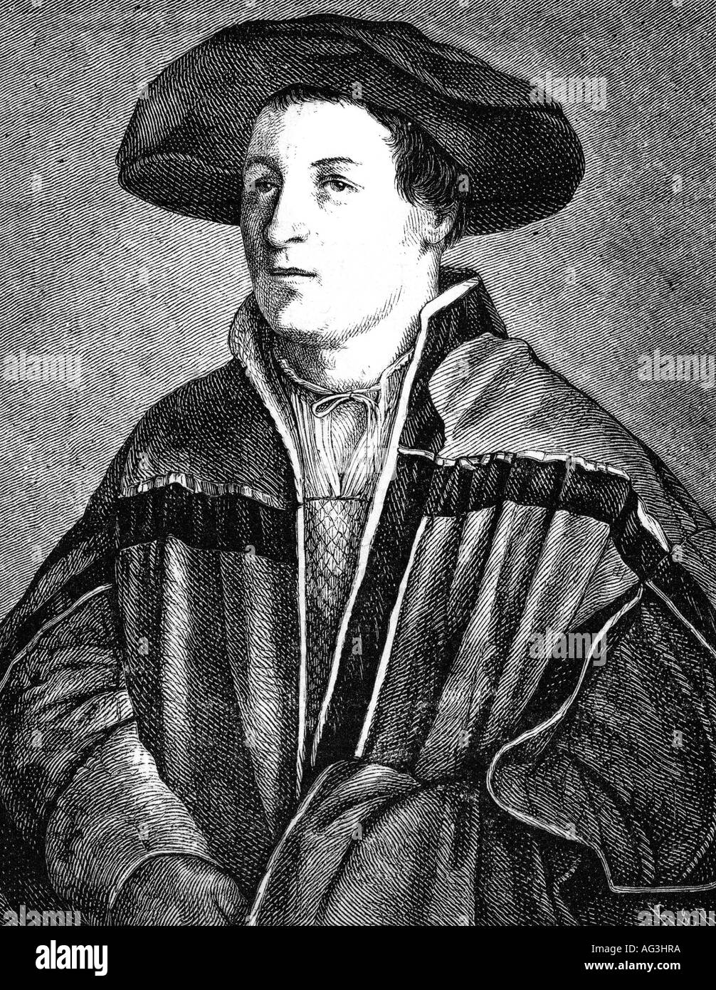 Holbein, Hans, the Younger, 1497 - 29.11.1543, German painter, self half length, engraving after painting, renaissance, , Artist's Copyright has not to be cleared - Stock Image